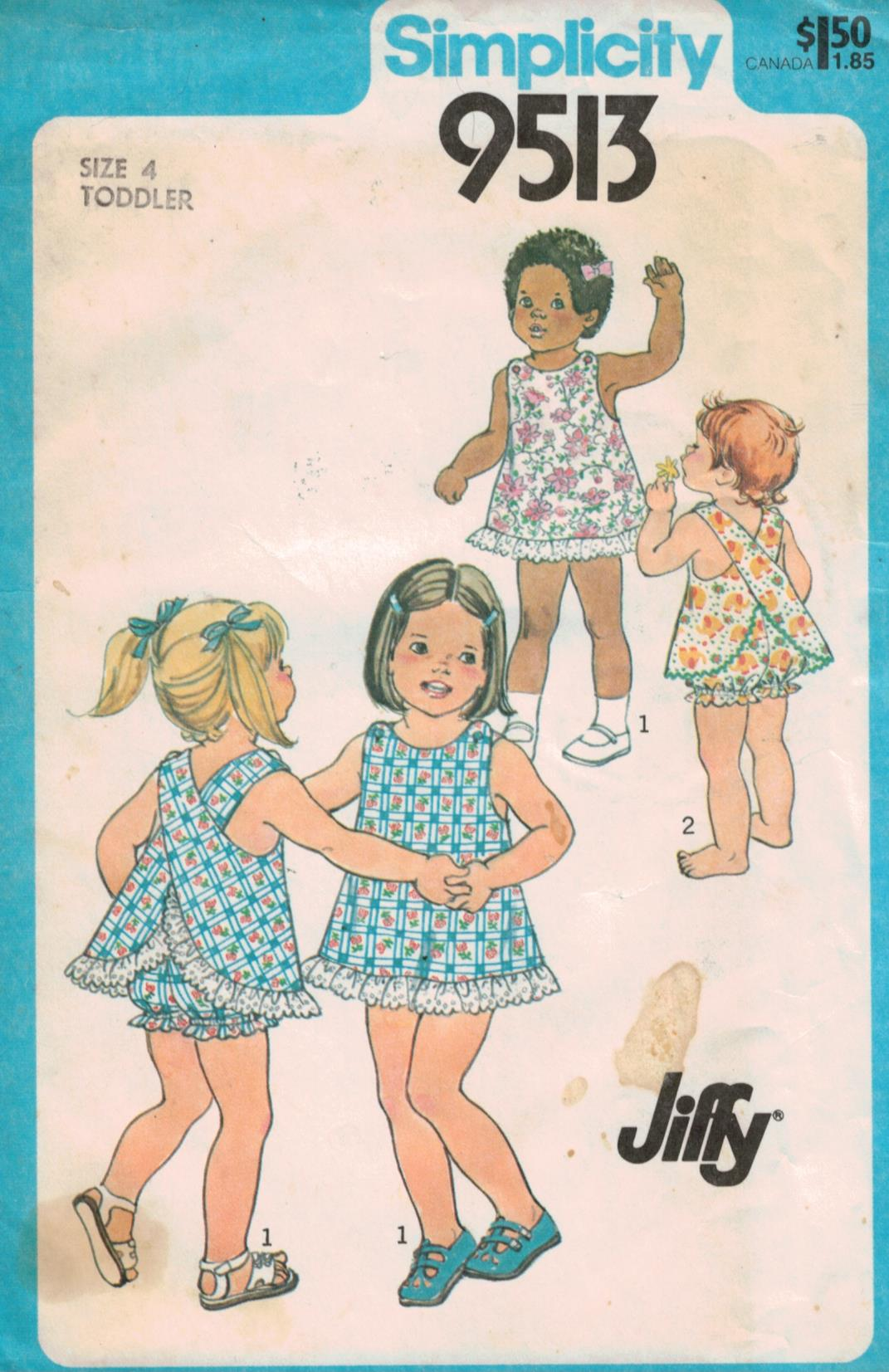 Simplicity Pattern 9513 Toddler Jiffy Sundress and Bloomers Size 4 ...