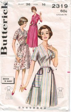 Butterick Pattern 2319 Classic Housecoat and wrap robes Misses size 16 716564bc5