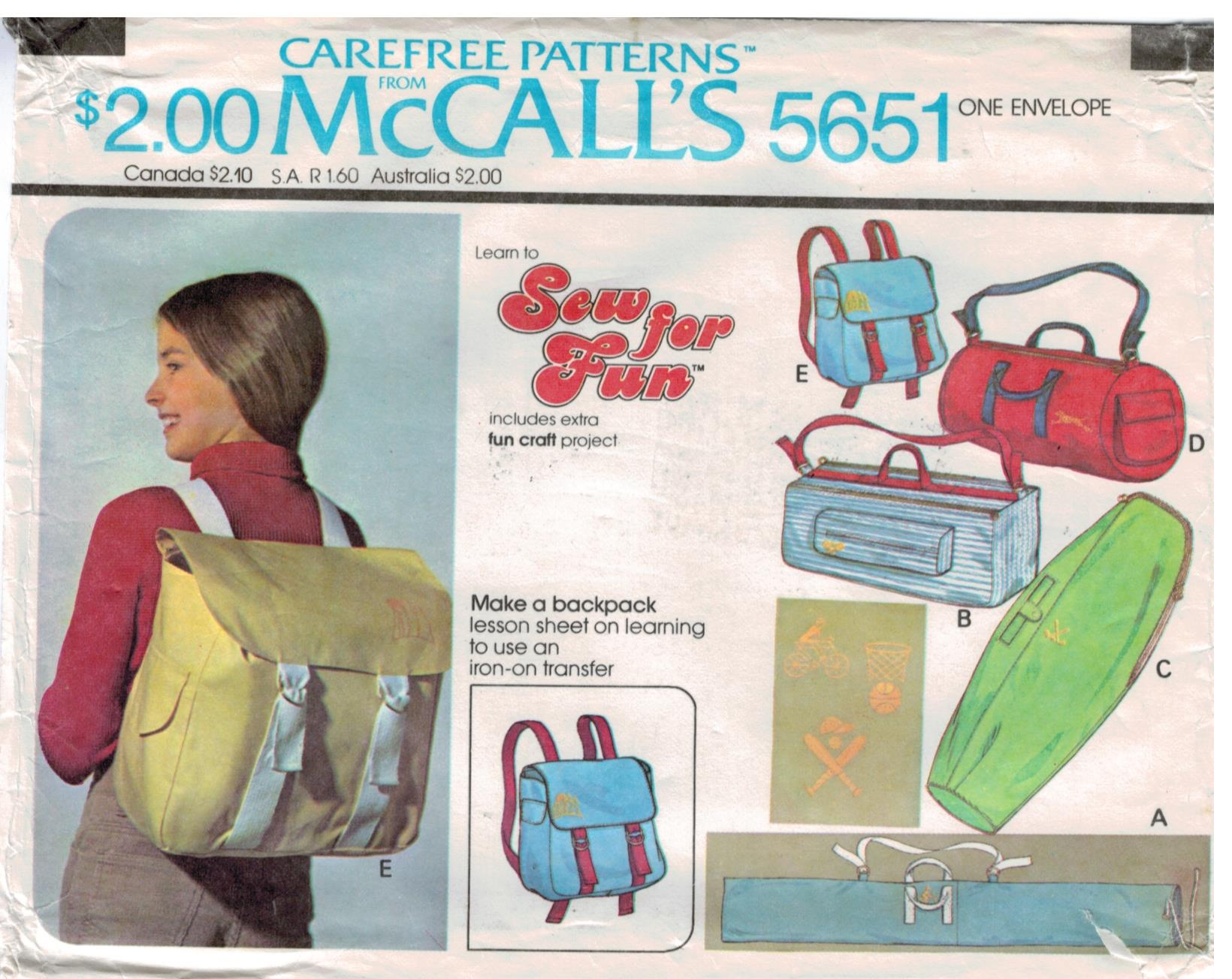 Mccalls pattern 5651 carry on backpack tote golf and tennis mccalls pattern 5651 carry on backpack tote golf and tennis bags luggage vintage 1977 jeuxipadfo Choice Image