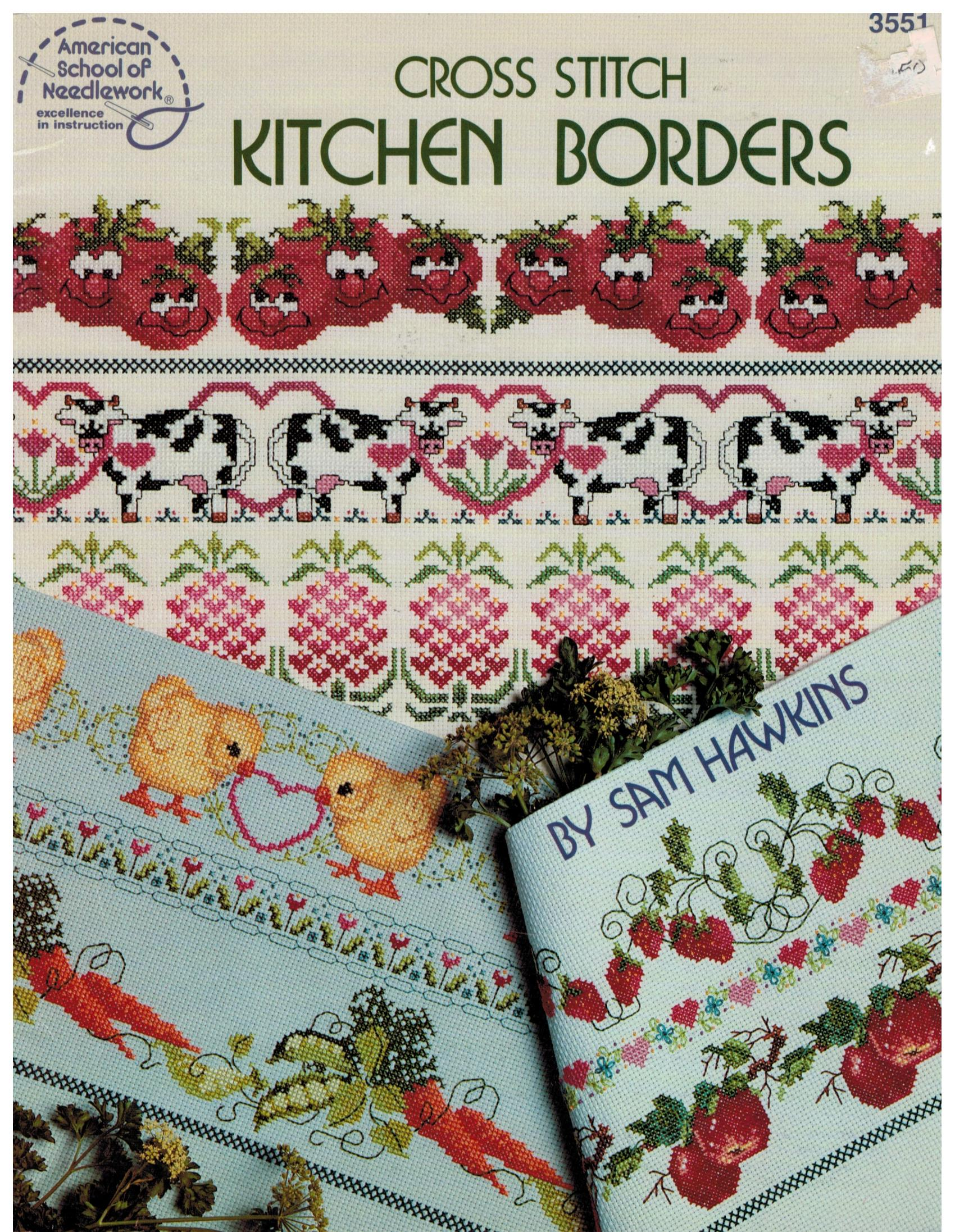 Patterns For Kitchen Curtains Cross Stitch Kitchen Border Trims For Towels Aprons Curtains And
