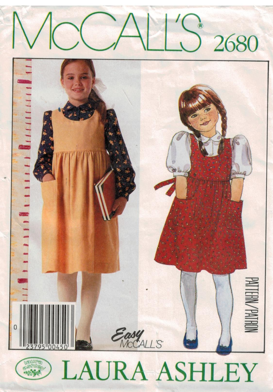 1e72235b23b5 McCalls Pattern 2680 Laura Ashley jumper and blouses for girls size 6 7 8  Easy