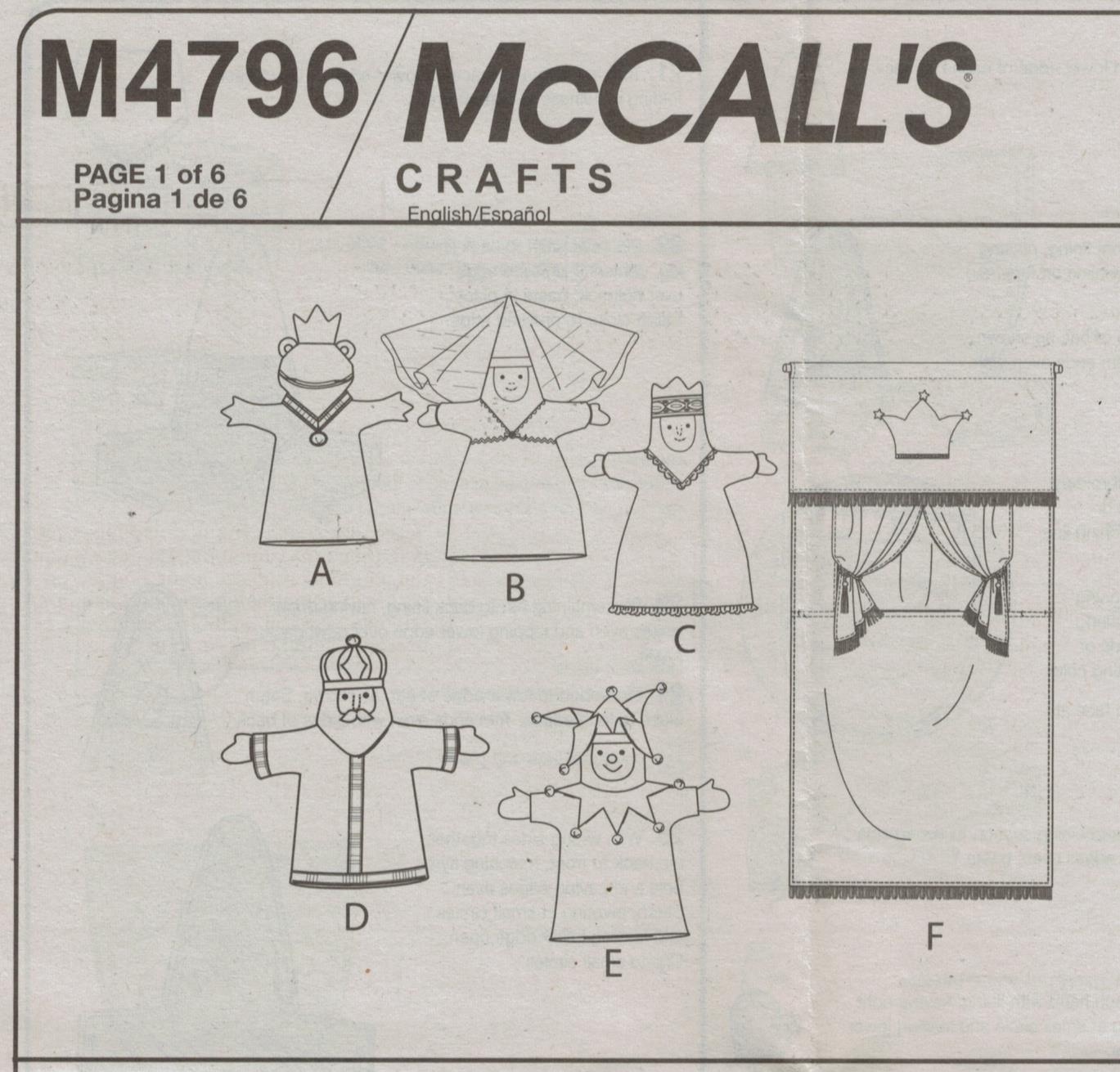 McCalls Pattern 4796 Fairy Tale Story Book Puppet Theatre