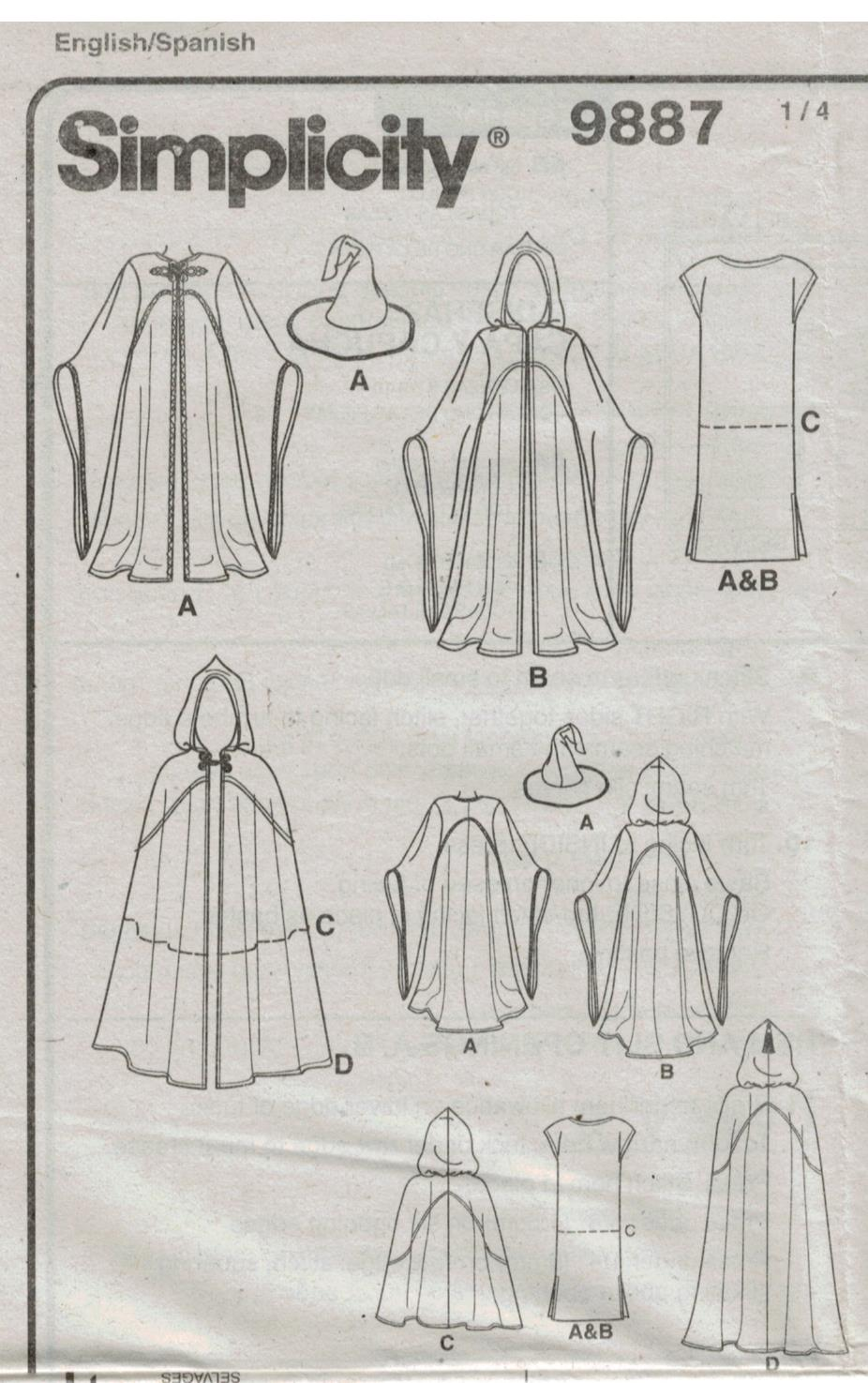 Simplicity Pattern 9887 Costumes Star Wars Hobbit Wizard, Princess ...