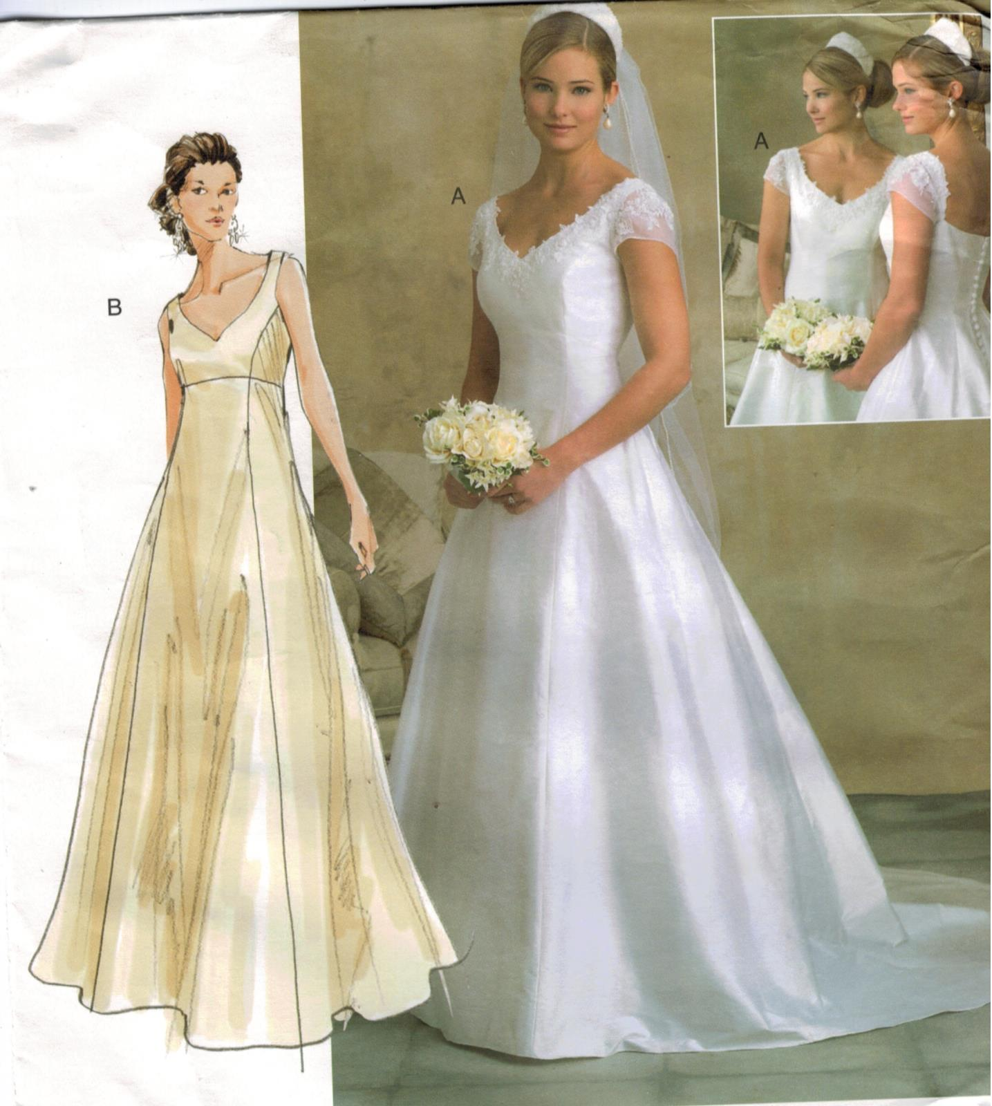 7fd515842ec Vogue Pattern 2788 Wedding Gown Bridesmaid Train Empire Waist Button ...