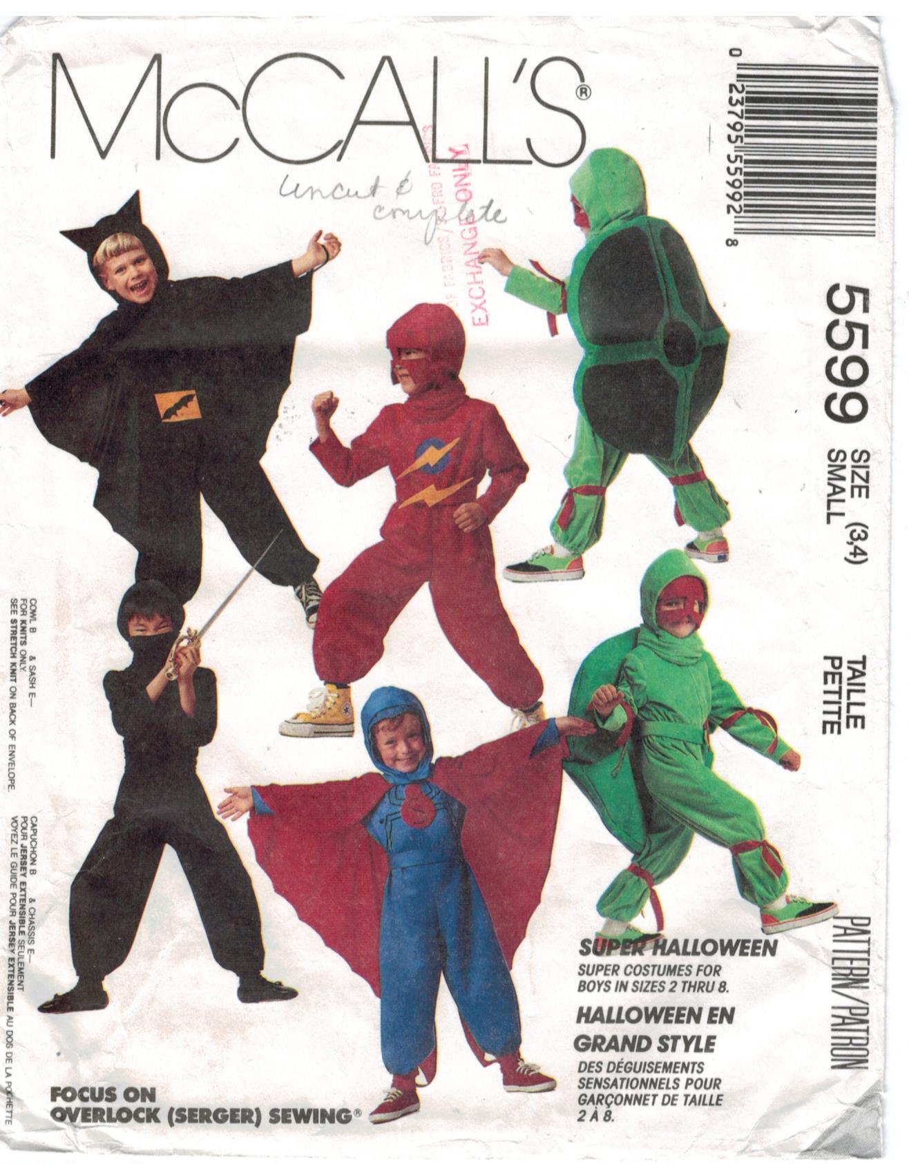 Mccalls pattern 5599 costume superhero turtle ninja spiderman jeuxipadfo Images