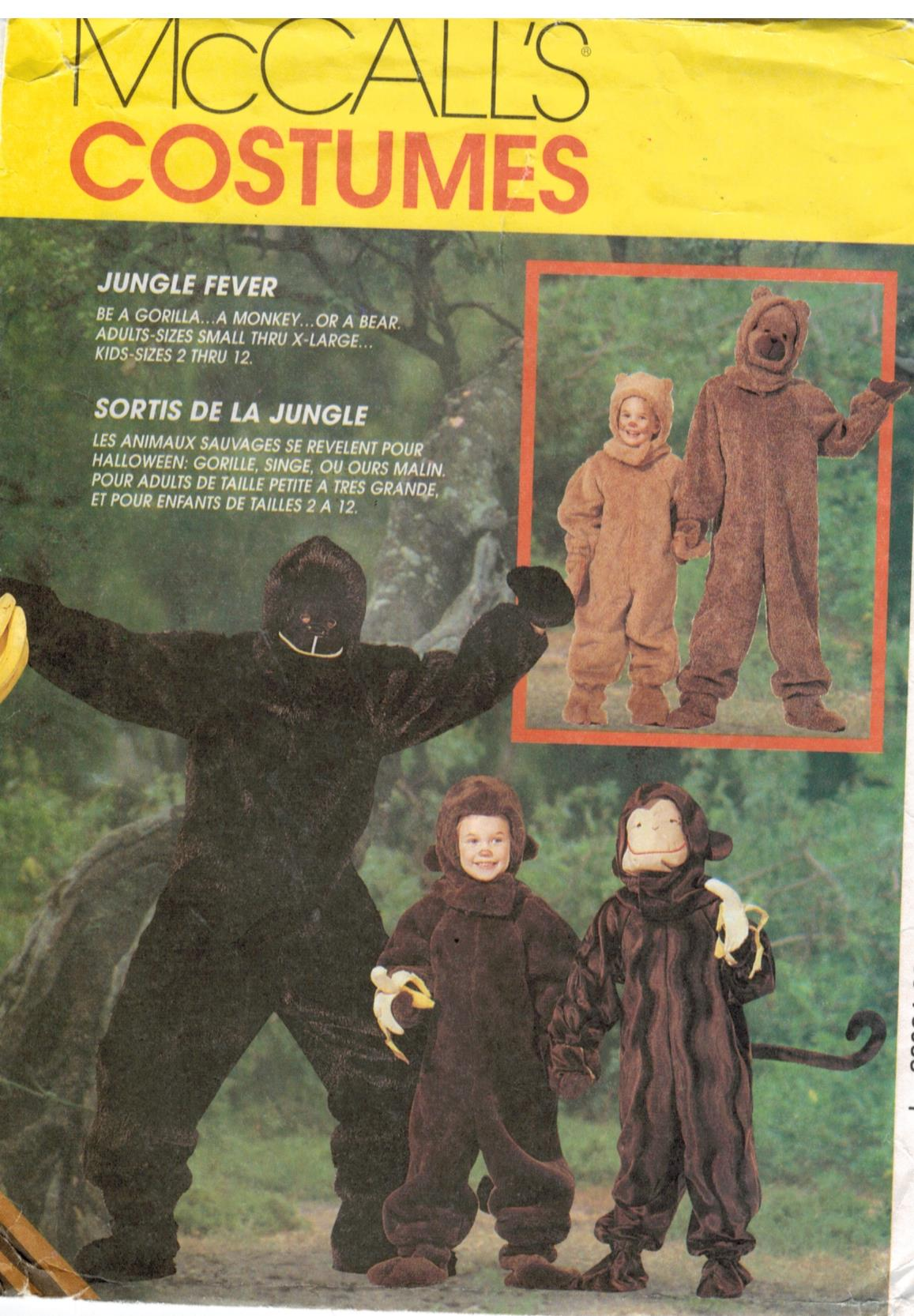 McCalls Pattern 7863 Costume Ape Monkey Chimp Bigfoot Bear Child's ...
