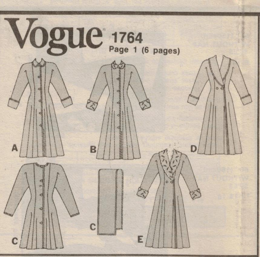 Vogue Pattern 1764 Princess Seam Winter Coat With Length And Collar