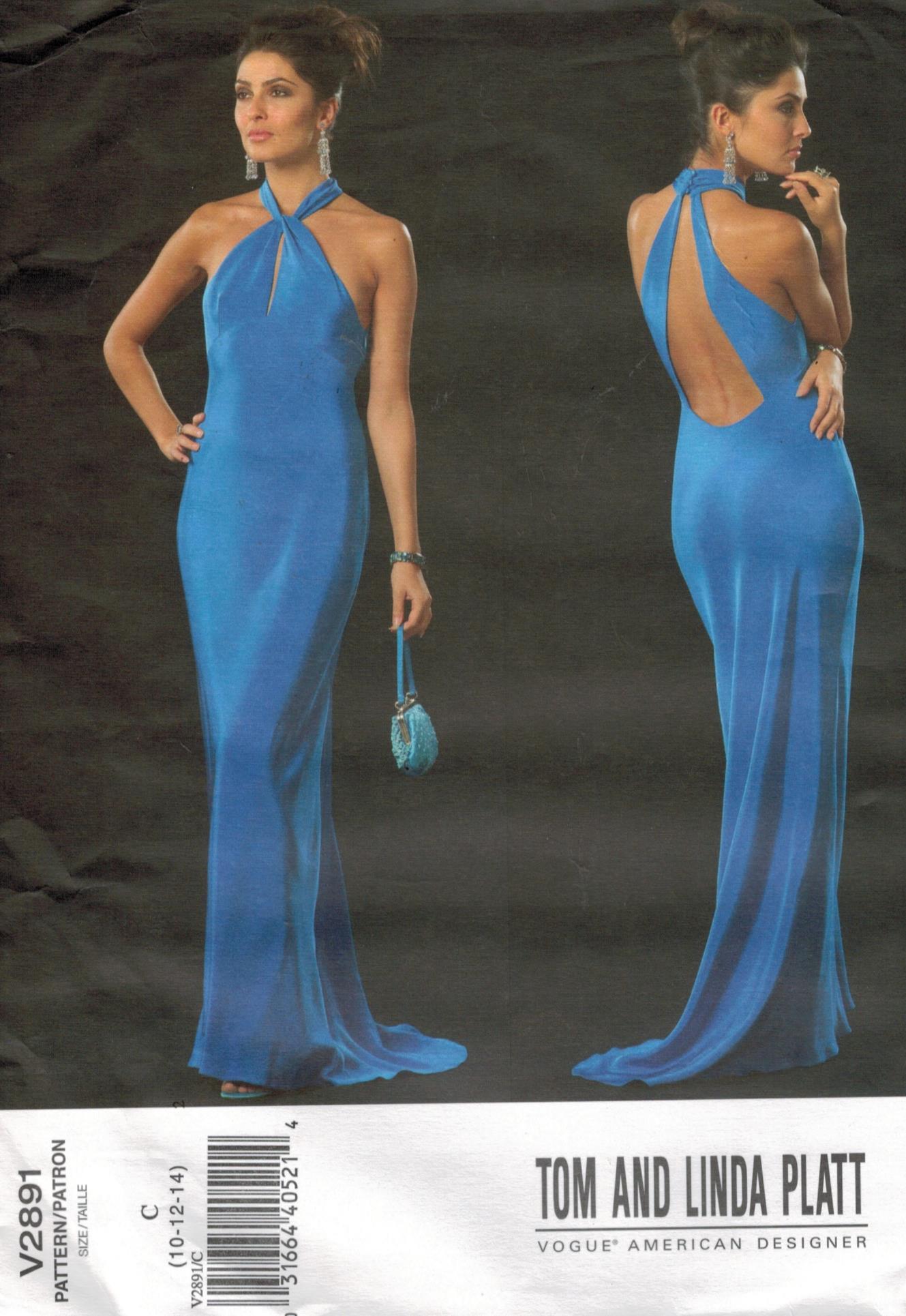 Vogue Pattern 2891 Designer Evening Gown Halter Neckline