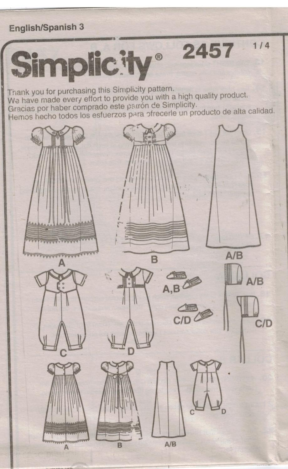 Simplicity Pattern 2457 Baptism Christening Gown Hats