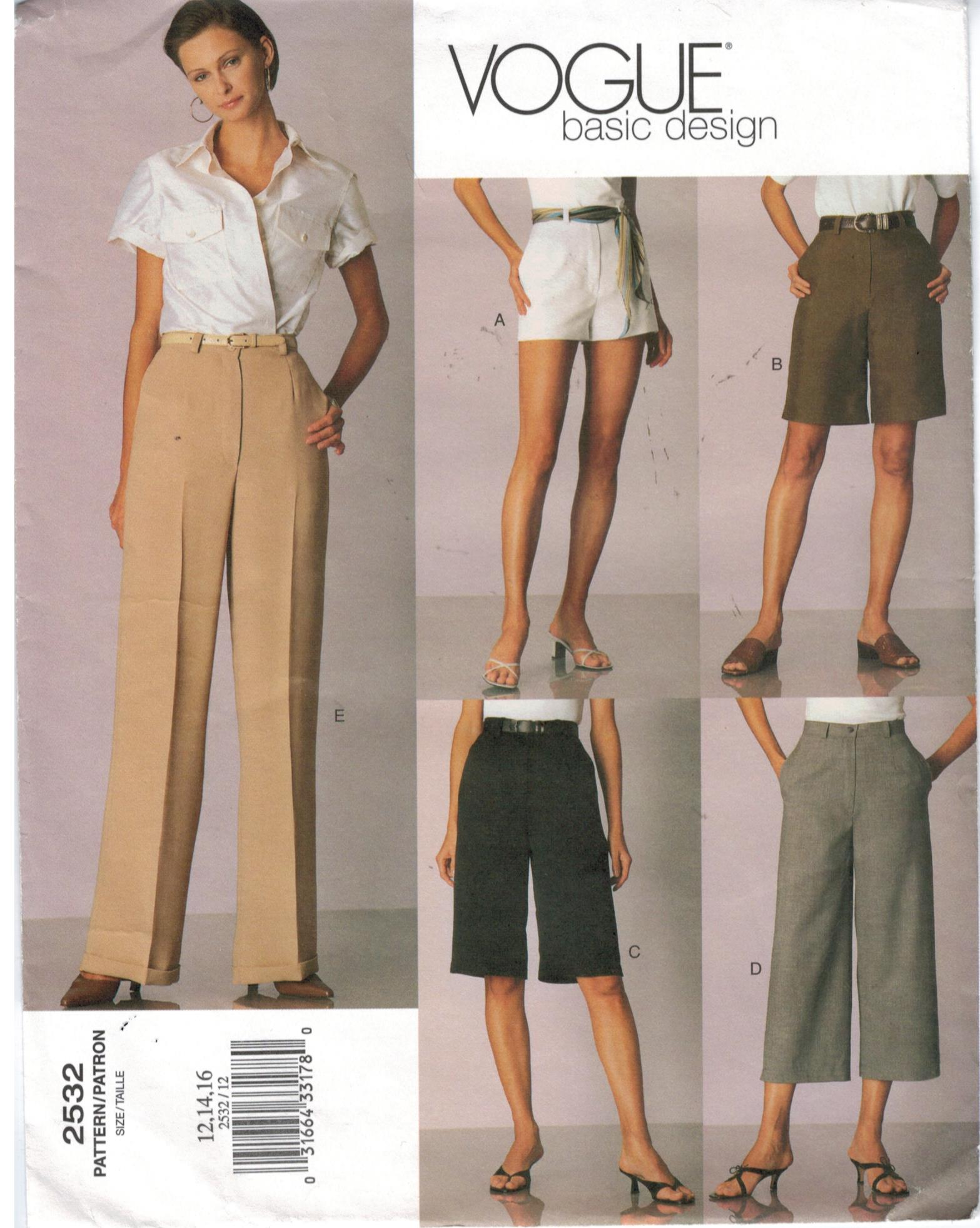 Vogue Pattern 2532 Shorts Bermuda Capri Pants Slacks Size ...