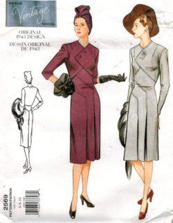 d28d376b0bdd4 Vogue Pattern 2569 Vintage Design Dress from 1943 Sizes 6 8 10