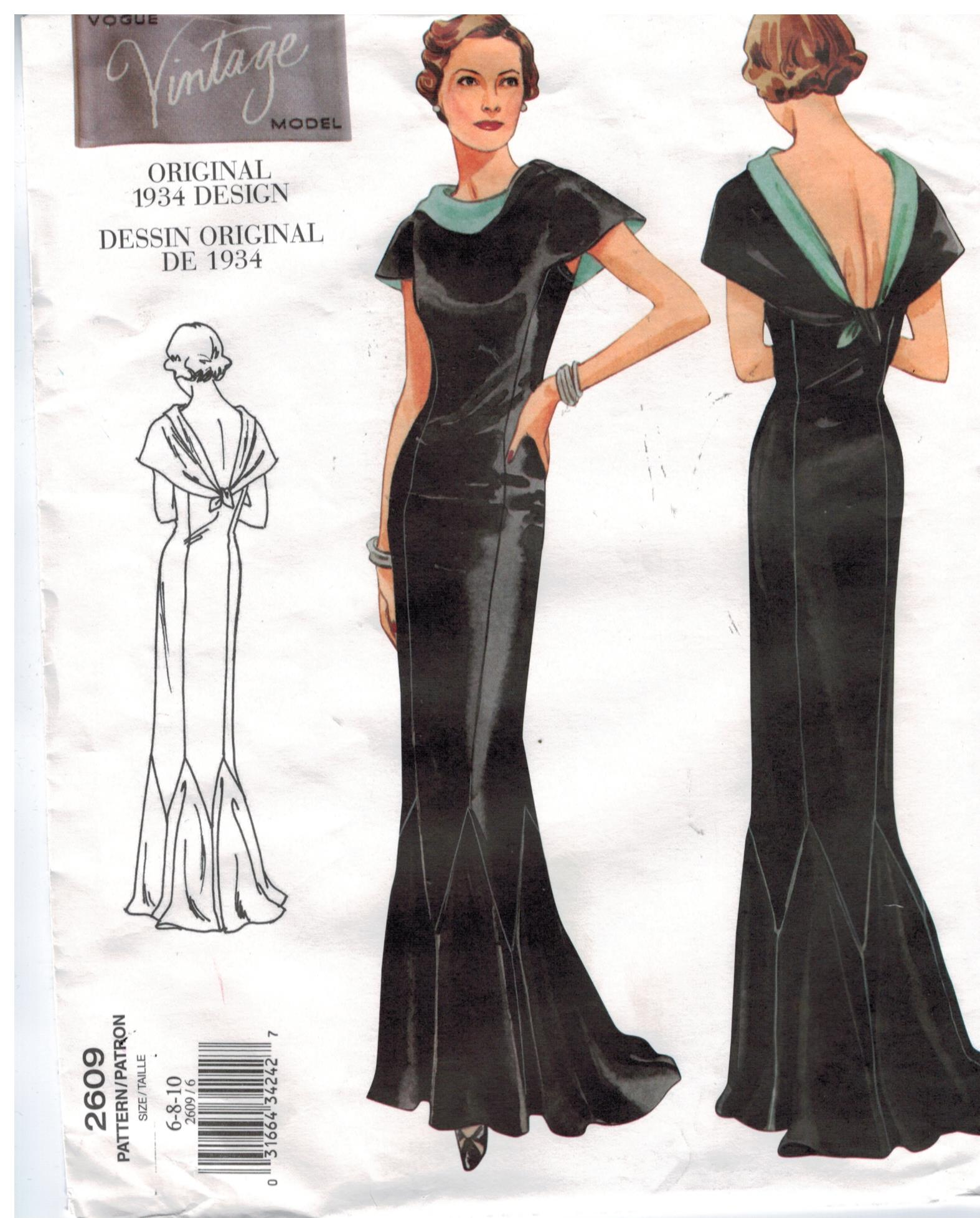 Vogue Pattern 2609 Vintage Design evening gown from the 1930s Size 6 ...