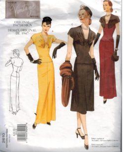 9986d9df24c94 Vogue Pattern 2610 Vintage Design dress from 1947 Misses sizes 6 8 10