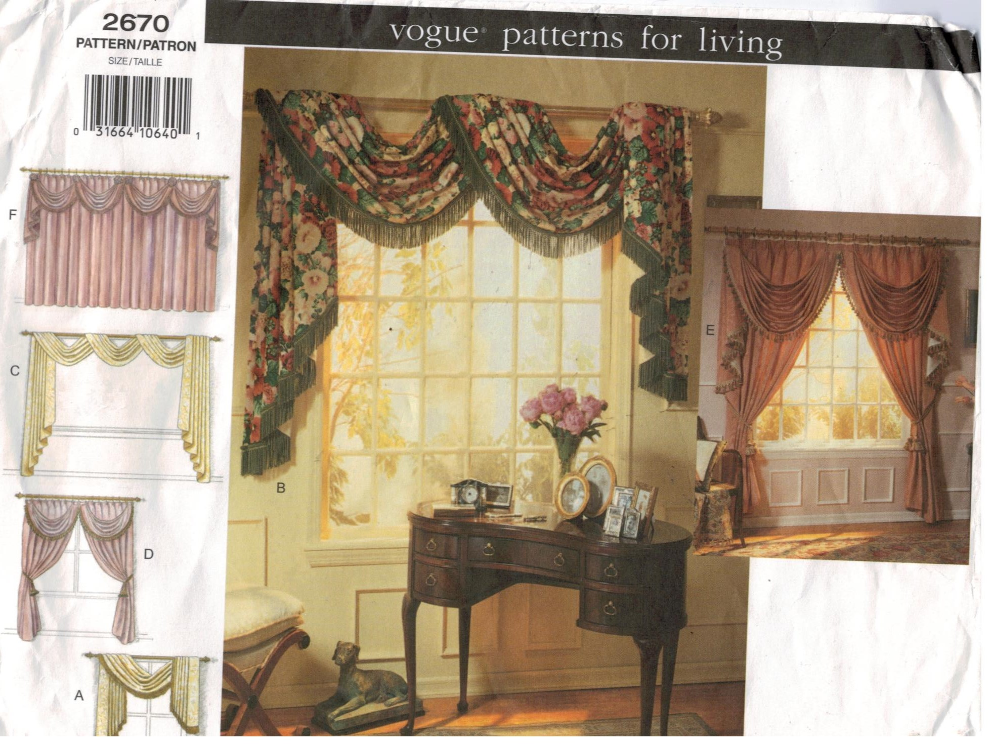Vogue Pattern 2670 Patterns For Living Swags And Jabot Window Treatment Home Dec Sewing Pattern Heaven