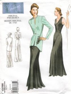 ca0f56486c633 Vogue Pattern 2786 Vintage gown and jacket from 1940 Size 12 14 16