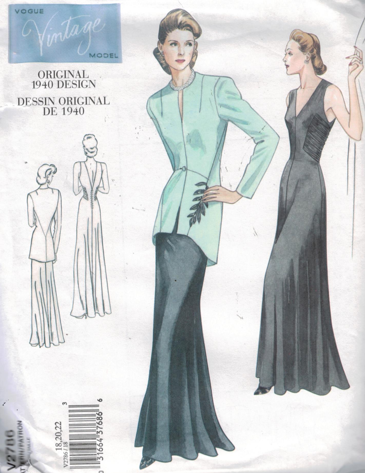 Vogue Pattern 2786 Vintage Gown And Jacket From 1940 Size