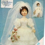 Beautiful soft cloth doll with the look of porcelain and wedding ensemble