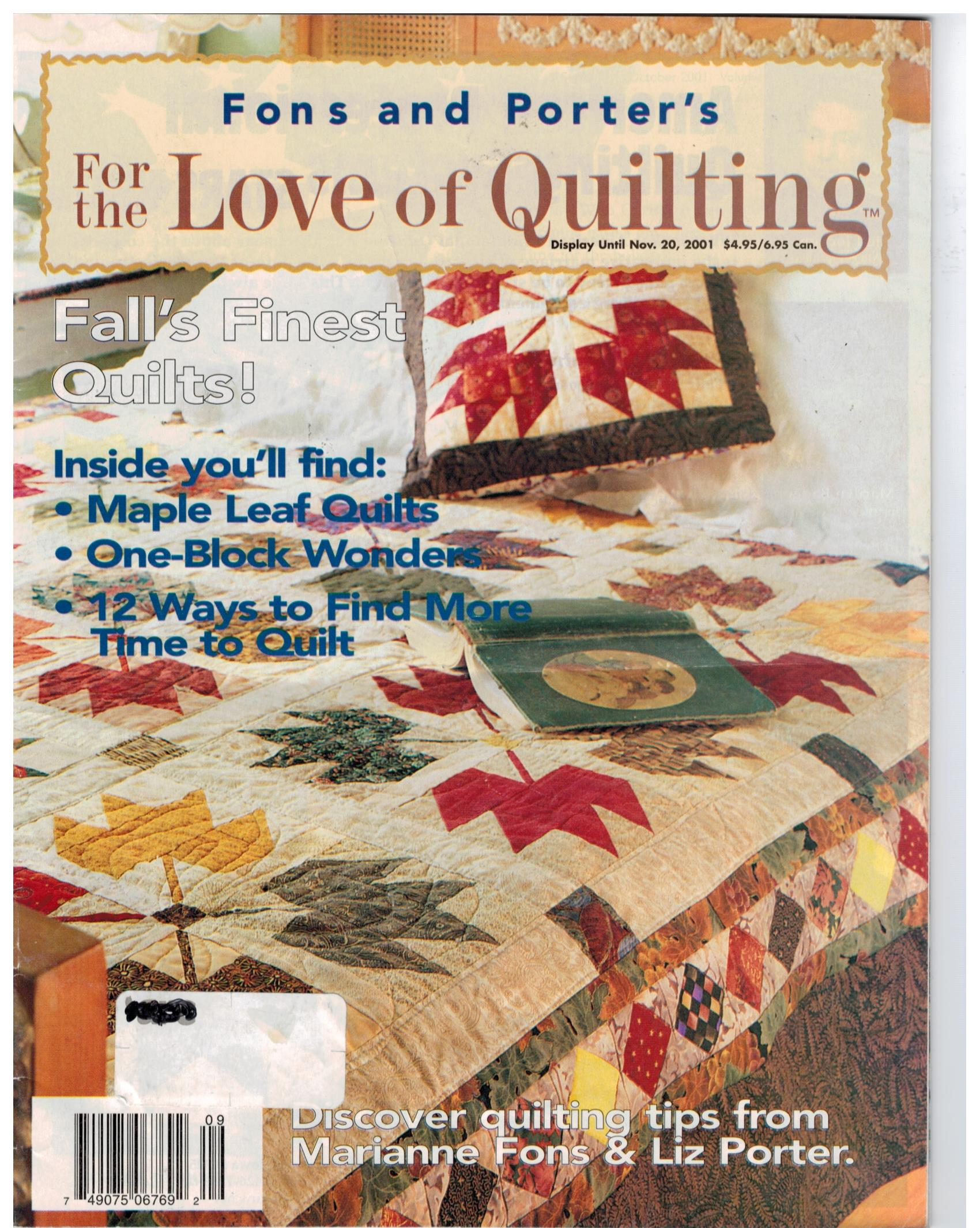 Fons And Porter For The Love Of Quilting Magazine Fall