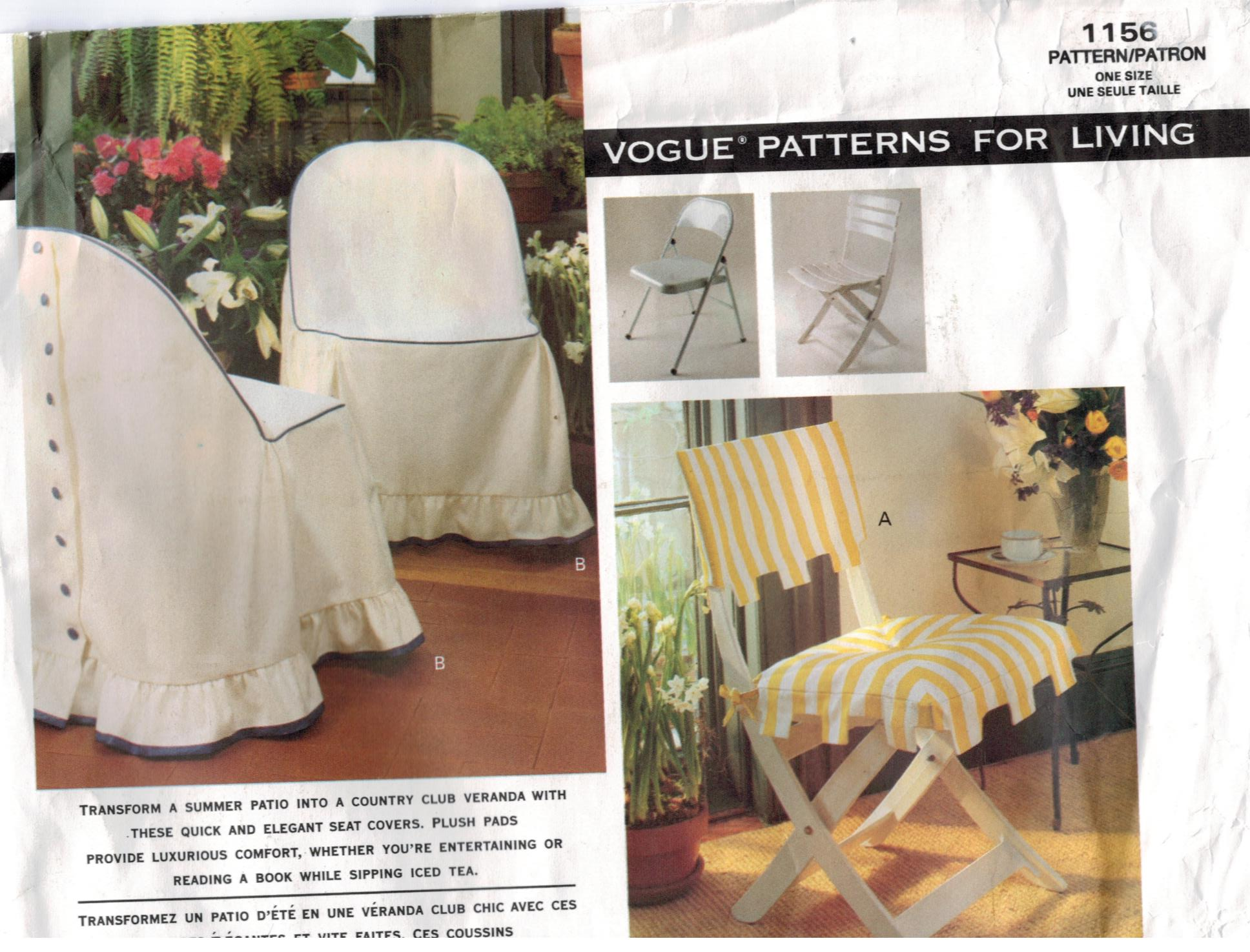 Vogue Pattern 1156 Patio Chair Covers Home Dec Summer