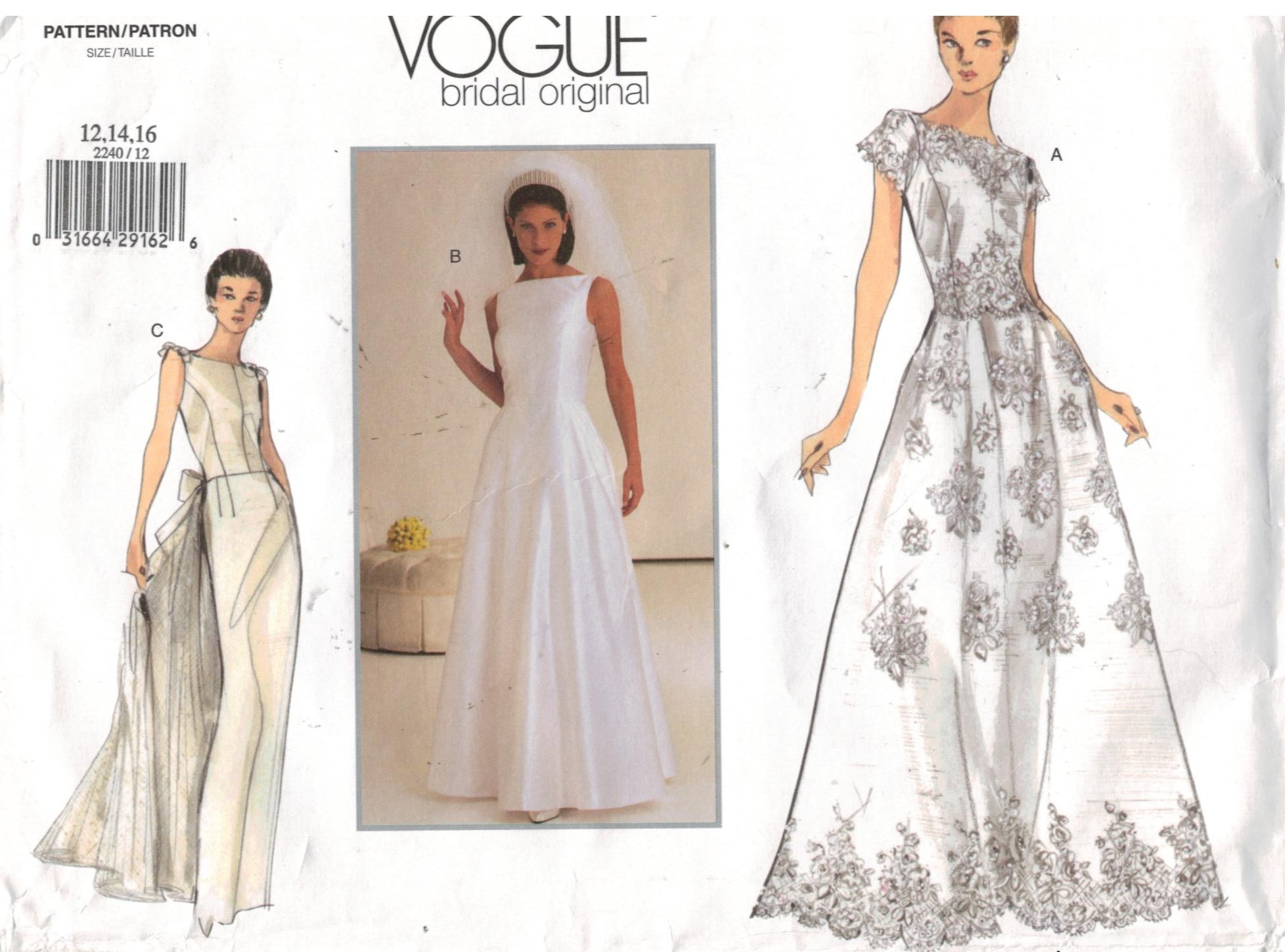 Vogue Pattern 2240 Bridal Wedding Gown Sizes 12 14 16