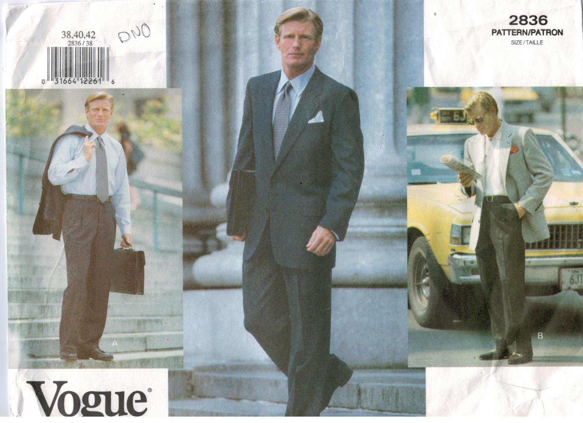 Vogue Pattern 2836 Men\'s Suit Jacket and Pants Sizes 38 40 42 ...