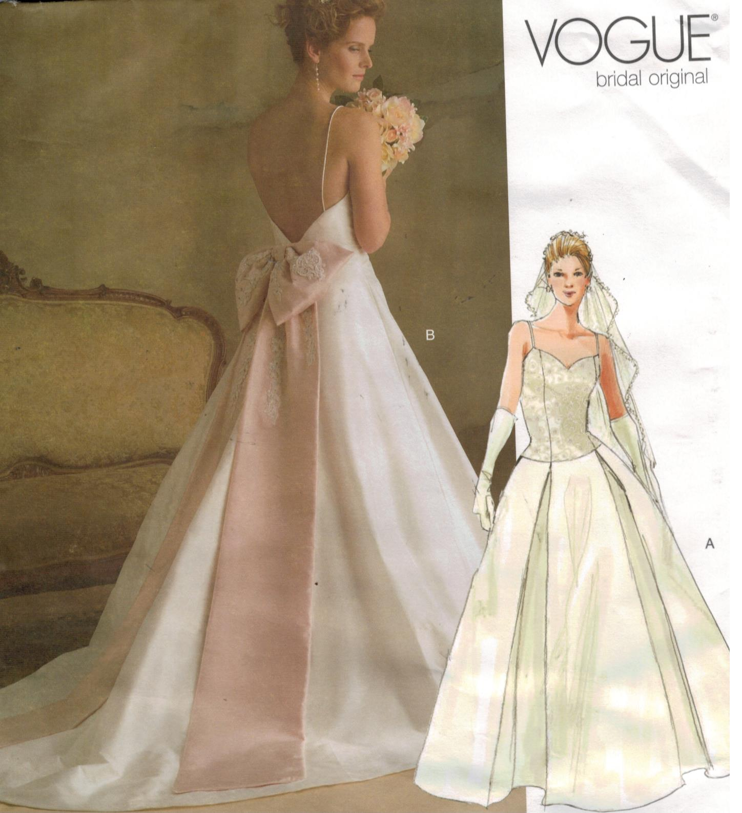 Vogue pattern 2849 wedding bridal gowns sizes 18 20 22 for Wedding dress patterns plus size