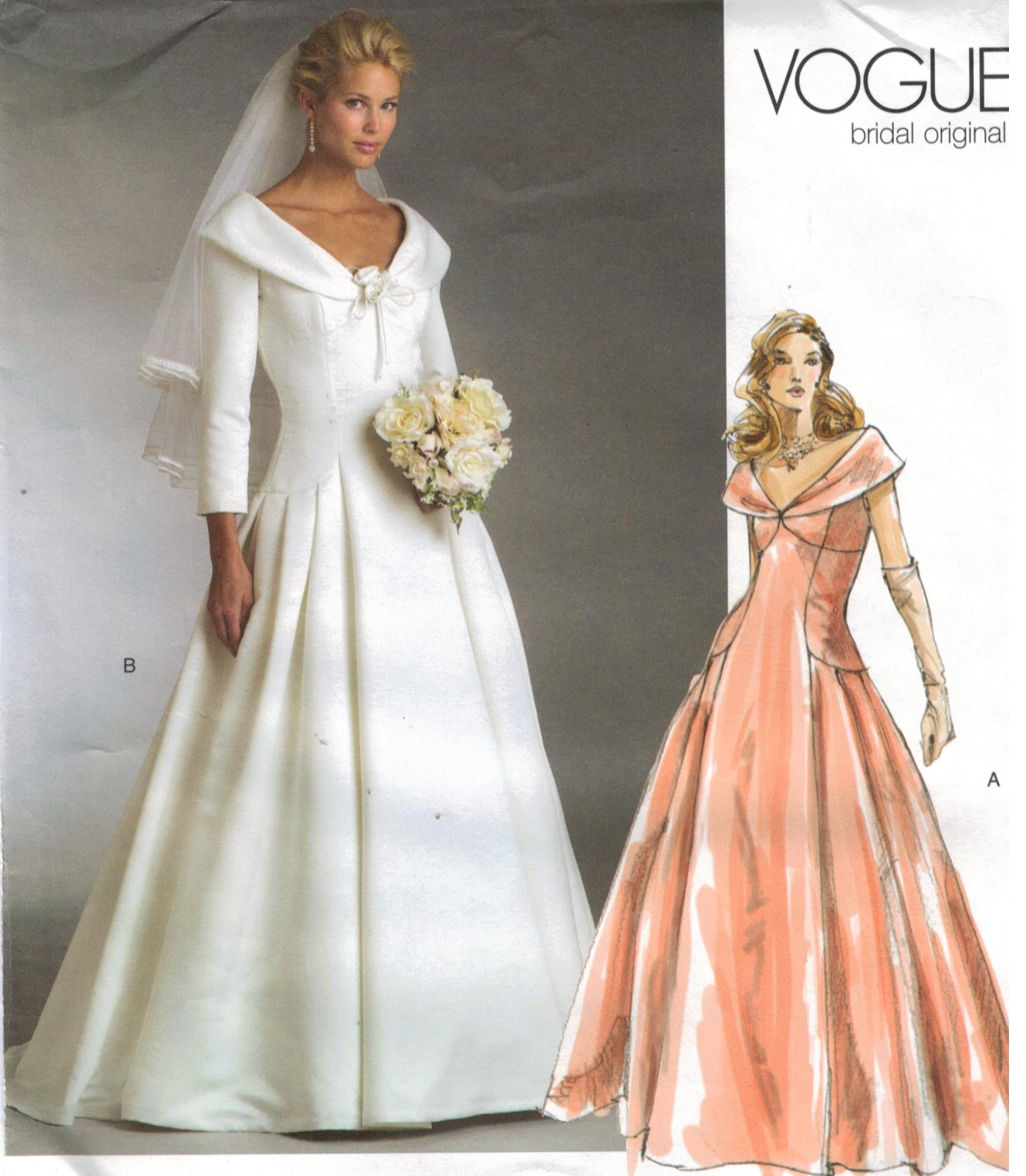 Vogue pattern 2944 bridal original wedding gown bridesmaid for Wedding dress patterns plus size