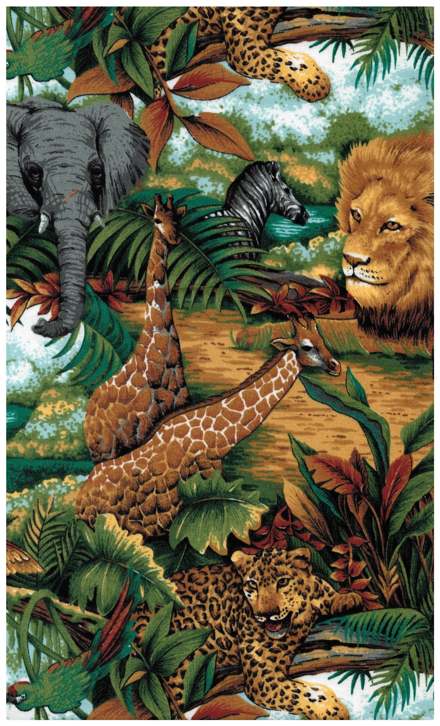 Spring industries fabric jungle print lion elephant for Classic jungle house for small animals