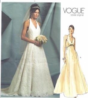 Vogue Pattern 2883 Wedding Gown Halter Bridal Original Size 6 8 10