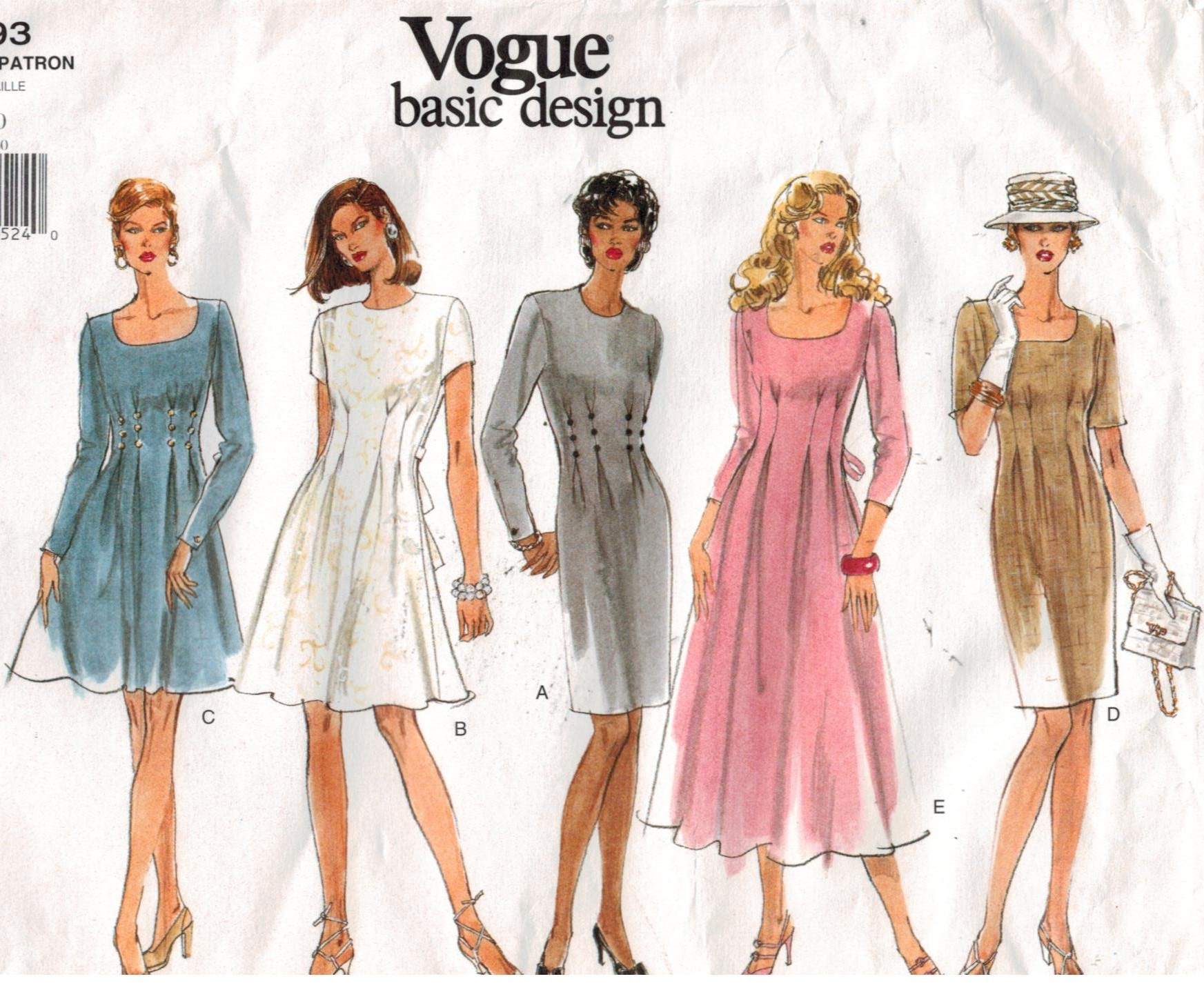 e8885e1bb2 Vogue Pattern 1593 Fit And Flare Dress With Tucks Sizes 6 8 10