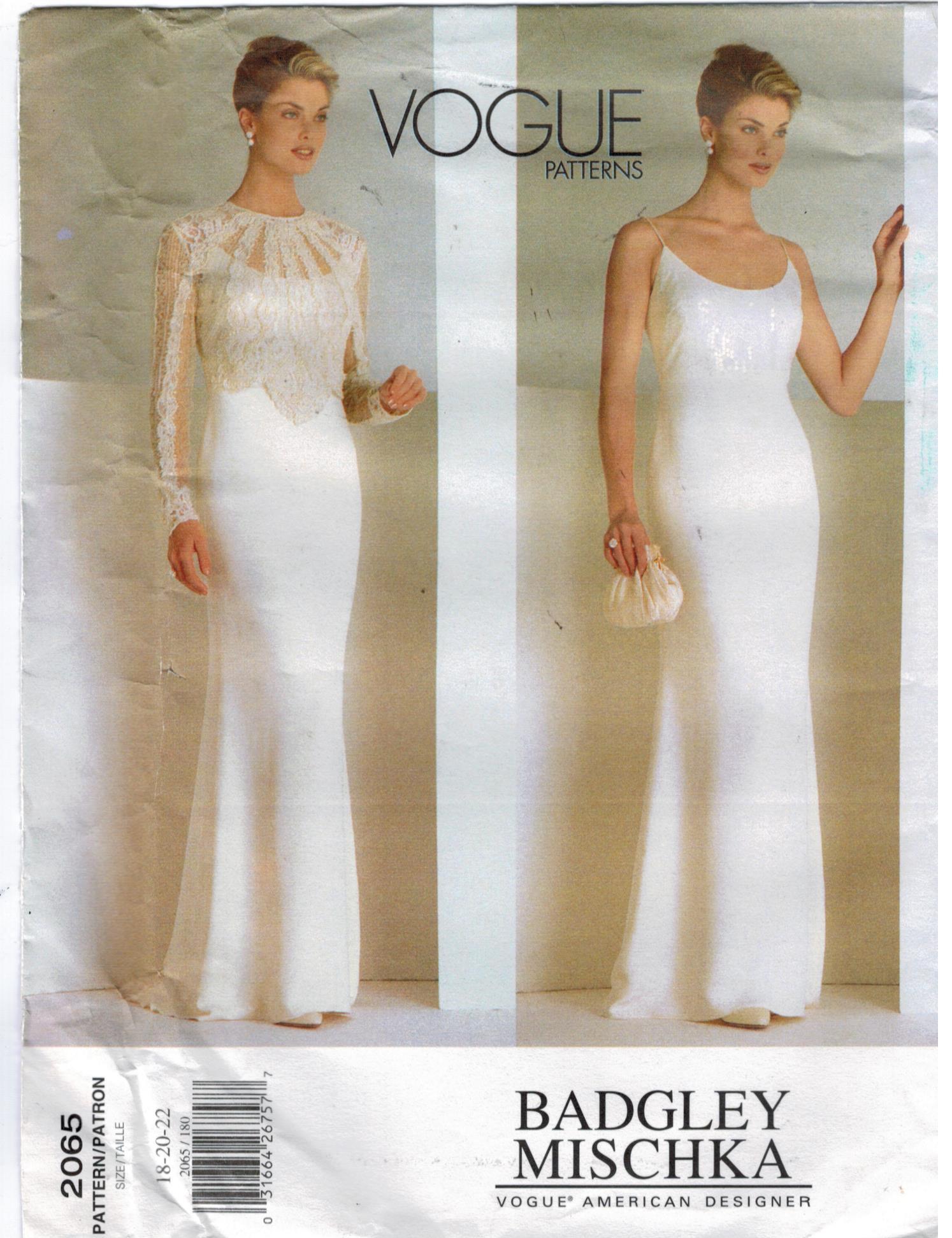 Vogue Pattern 2065 Badgley Mischka Evening Wedding Gown Size 18 20