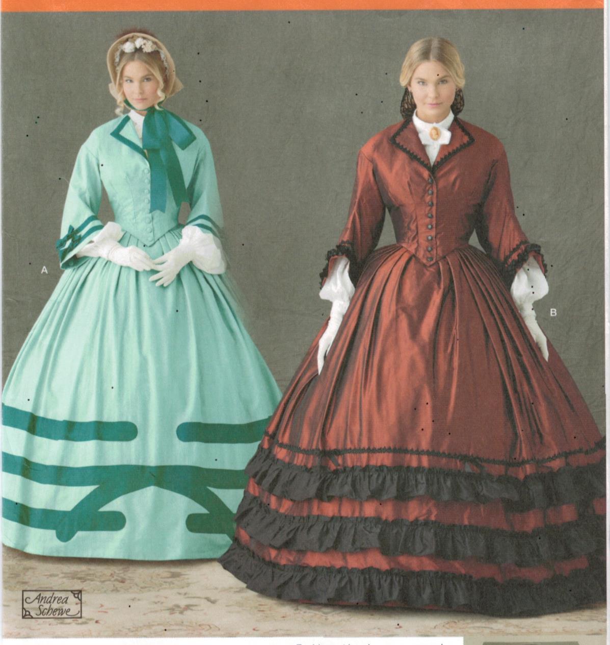 Simplicity Pattern 1818 Civil War Era ladies dress costumes sizes 8-14