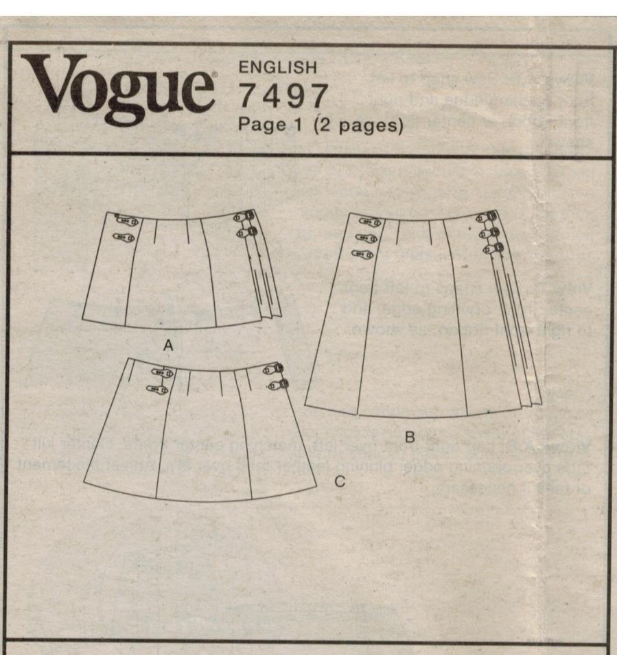Vogue Pattern 7497 Kilt Style Wrap Skirts For Misses Sizes 14 16 18