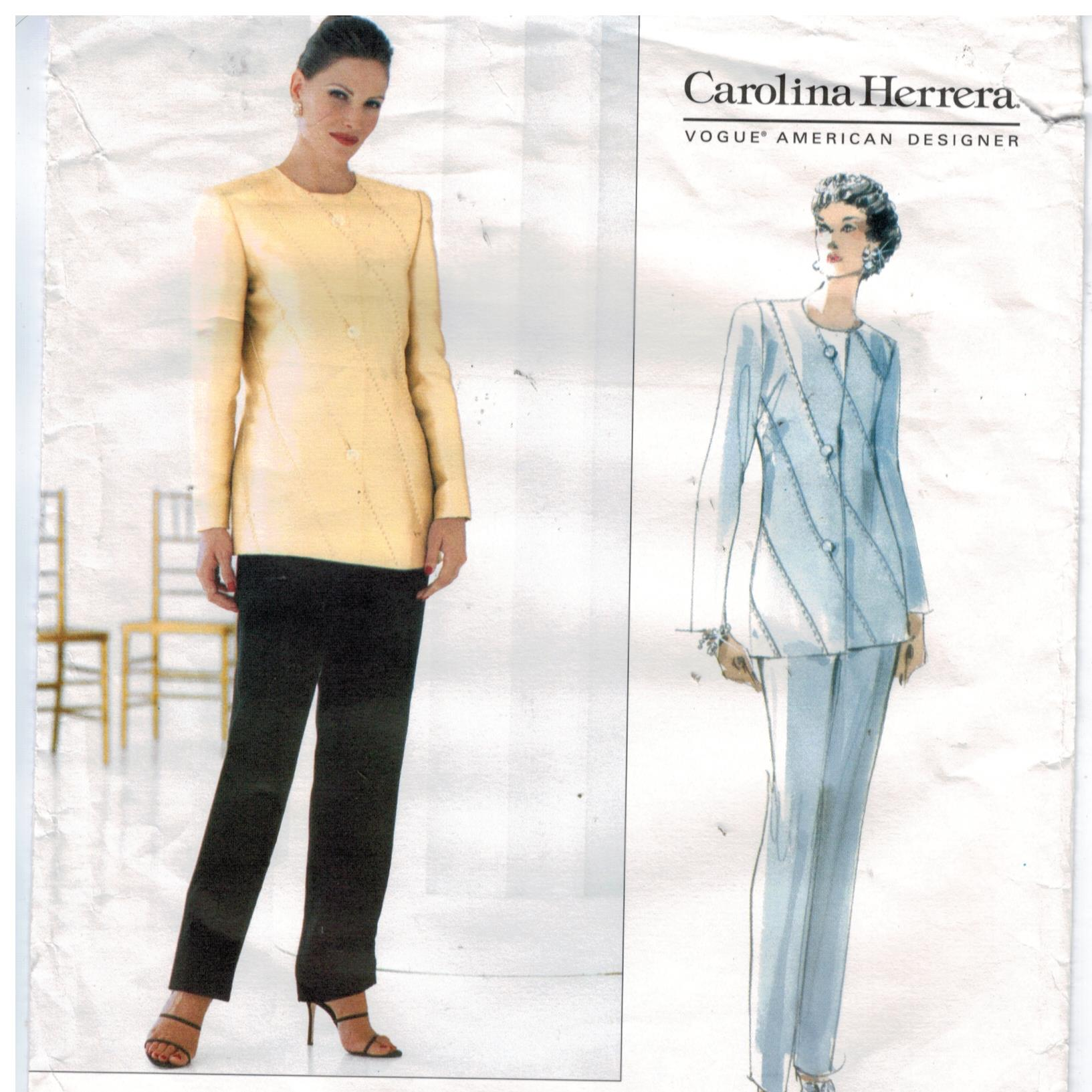 Vogue Pattern 2229 Carolina Herrera Designer Pantsuit pattern sizes 14, 16,  18