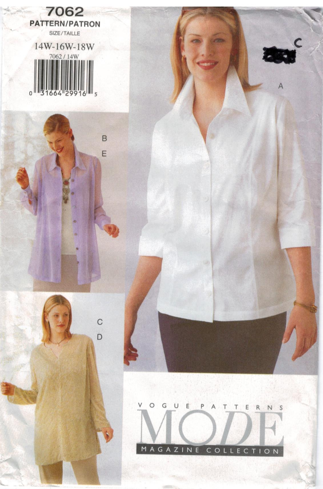 Vogue Pattern 12 Mode Magazine Collection Blouses and tops sizes ...
