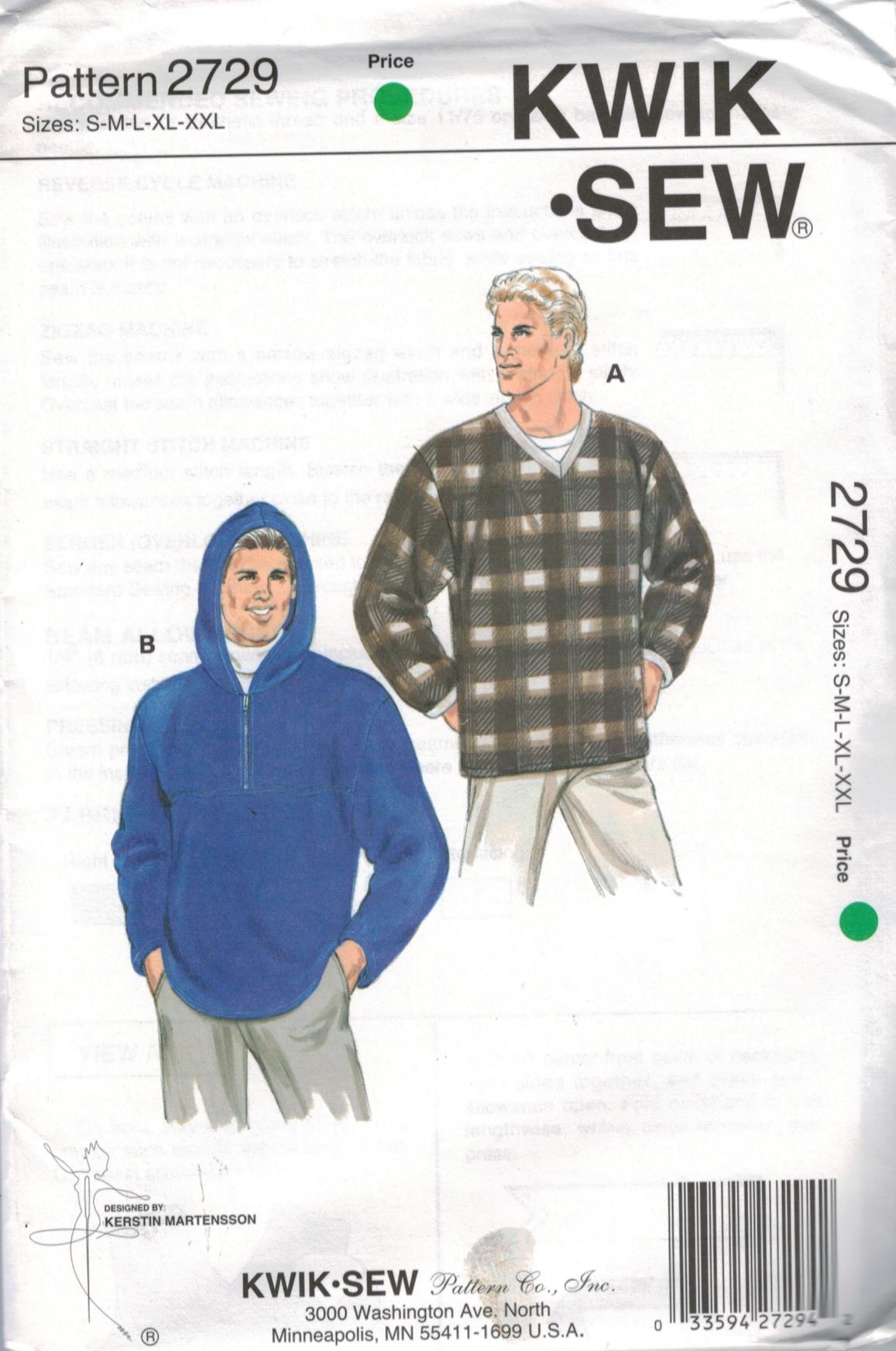 Kwik-Sew Patterns for Men Kwik-Sew   Sewing Pattern Heaven