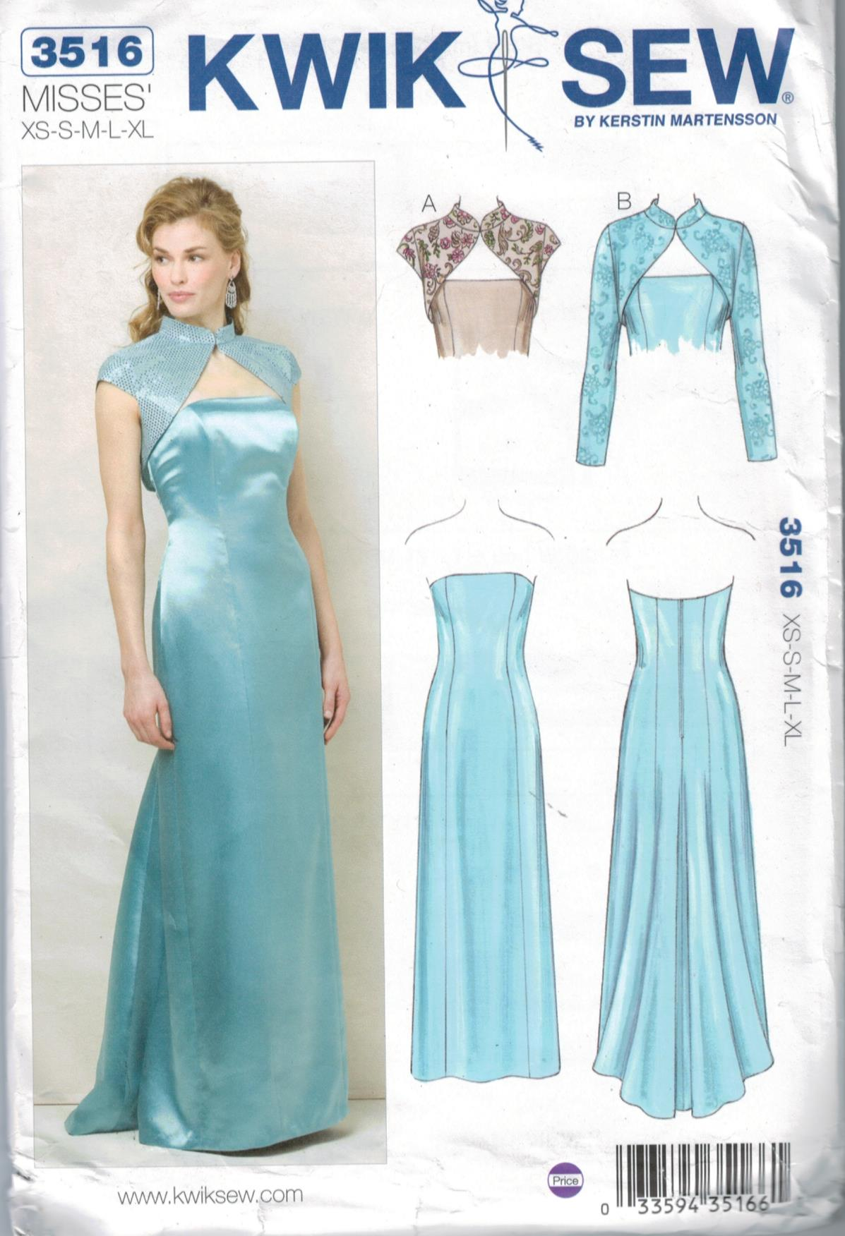 kwik sew pattern 3516 misses formal strapless evening gown