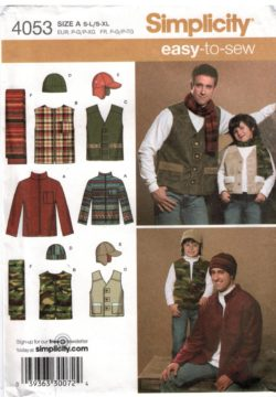 9456dcf60 Simplicity Pattern 4053 Men's and Boys Sports and Hunting Jackets, vest,  hats and scarf