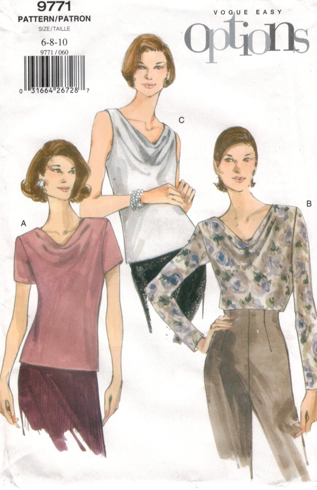 Vogue Pattern 12 Easy Options blouses and tops sizes 12, 12, 12 ...