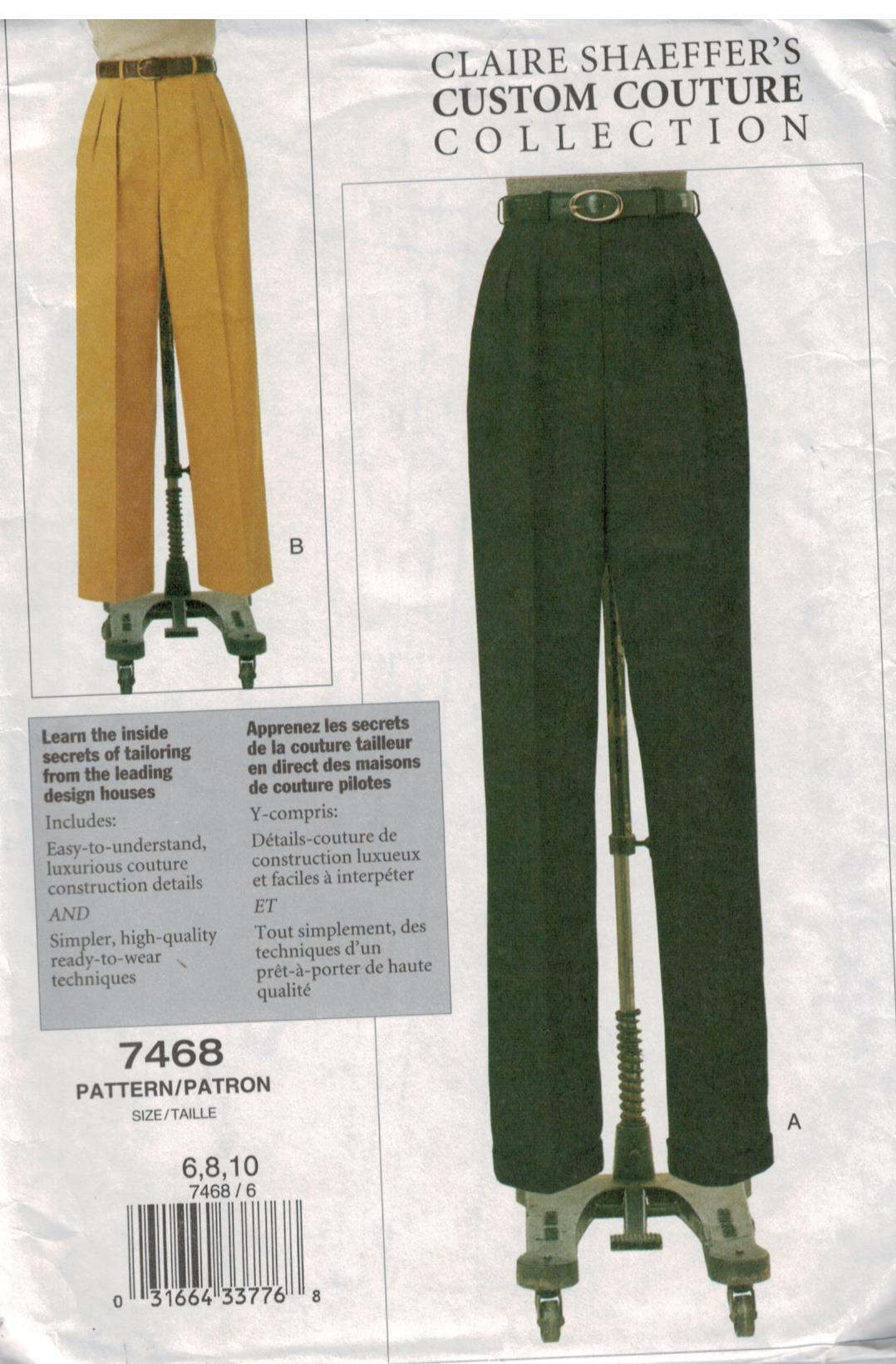 Vogue Pattern 7468 Claire Shaeffer Custom Couture Collection Pants sizes  6,8, 10