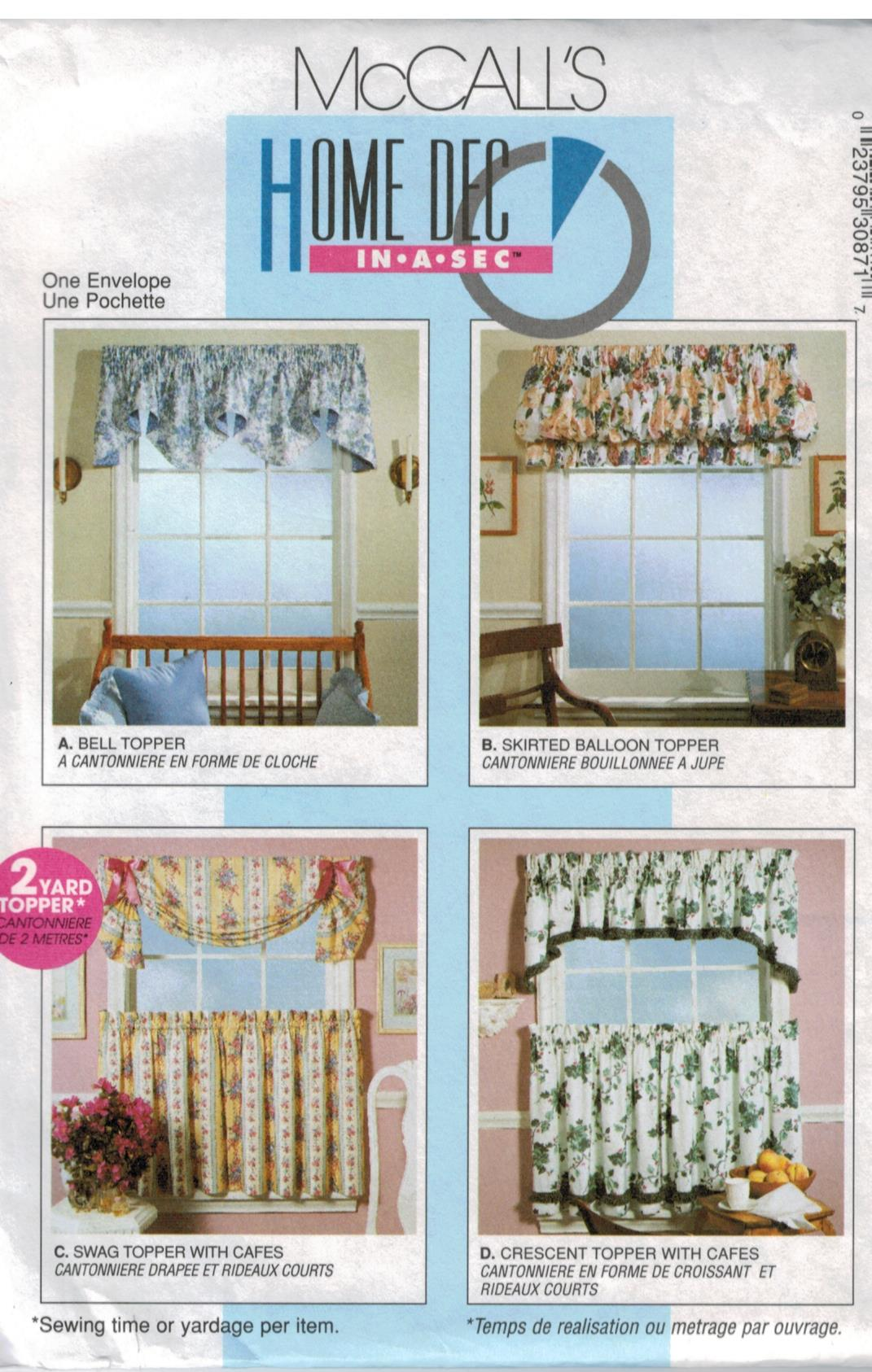 Mccalls Pattern 3087 Bell Topper Balloon Topper Swag Topper With Cafe Curtains And Crescent Topper Window Treatments Easy Home Dec Sewing Pattern Heaven