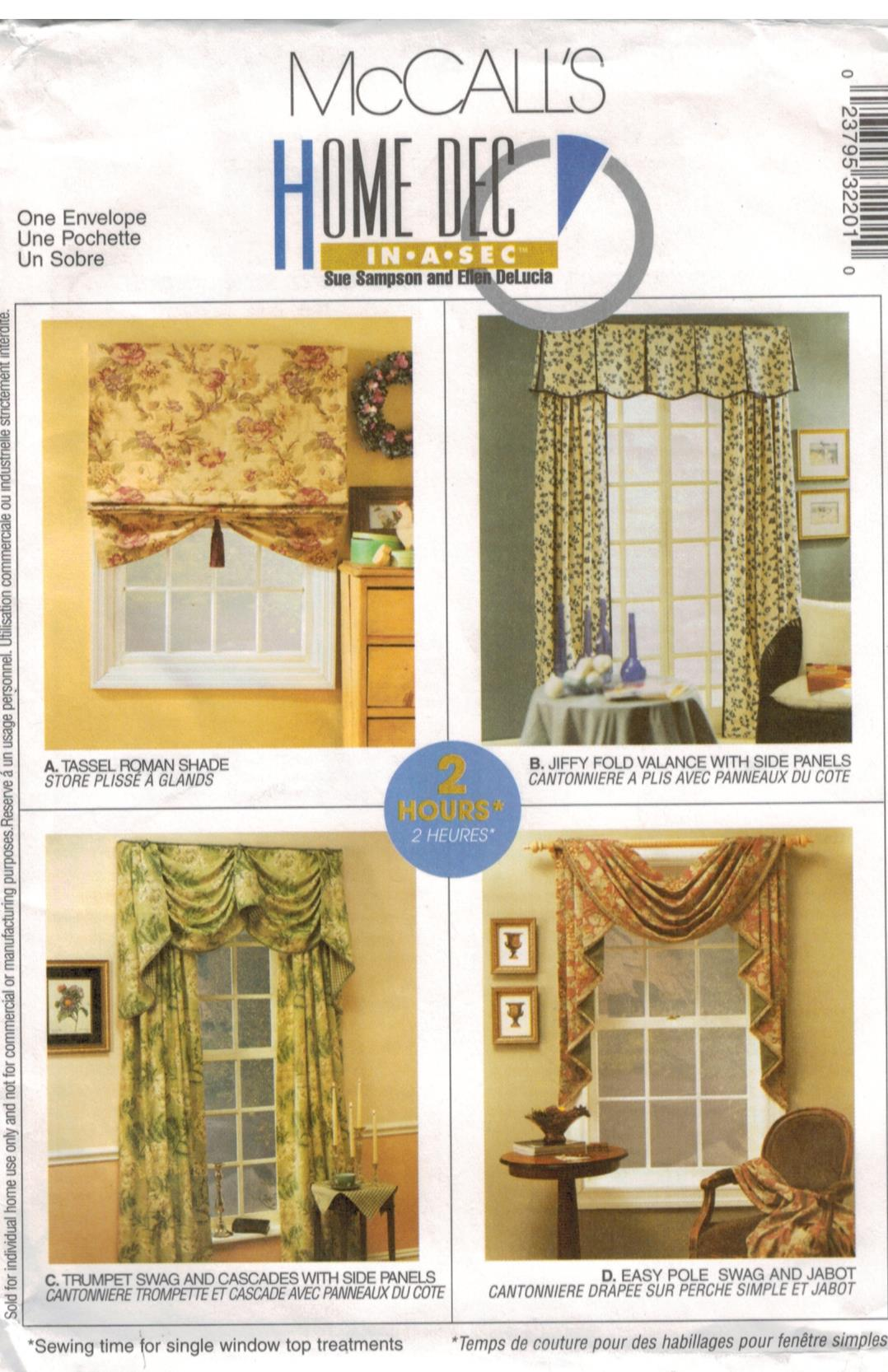 Mccalls Pattern 3220 Roman Shade Valance Side Panel Curtains Jabot And Swags Easy Window Treatments Home Dec Sewing Pattern Heaven