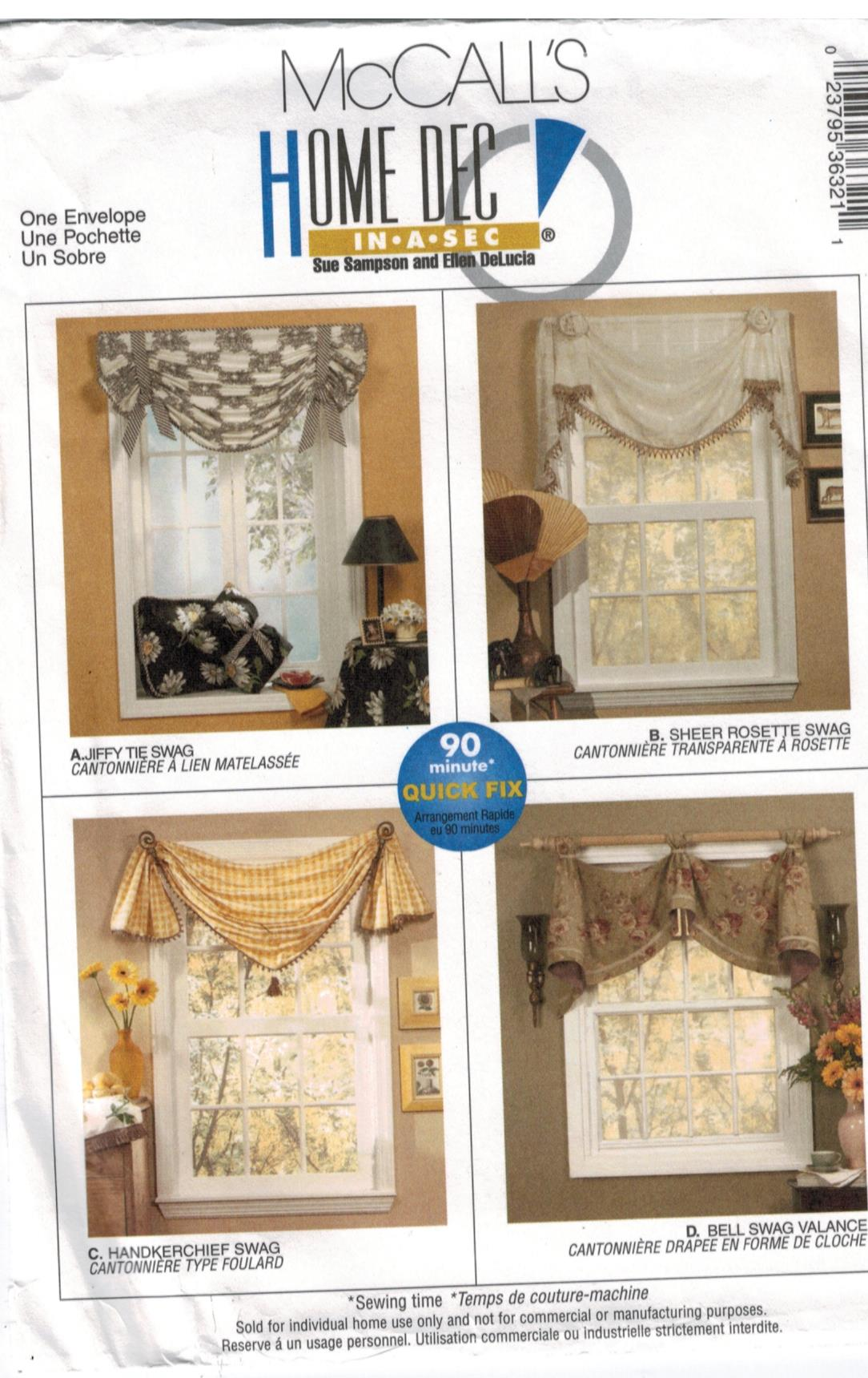 Mccalls Pattern 3632 Swags And Valance Window Treatment Easy Home Dec Sewing Pattern Heaven
