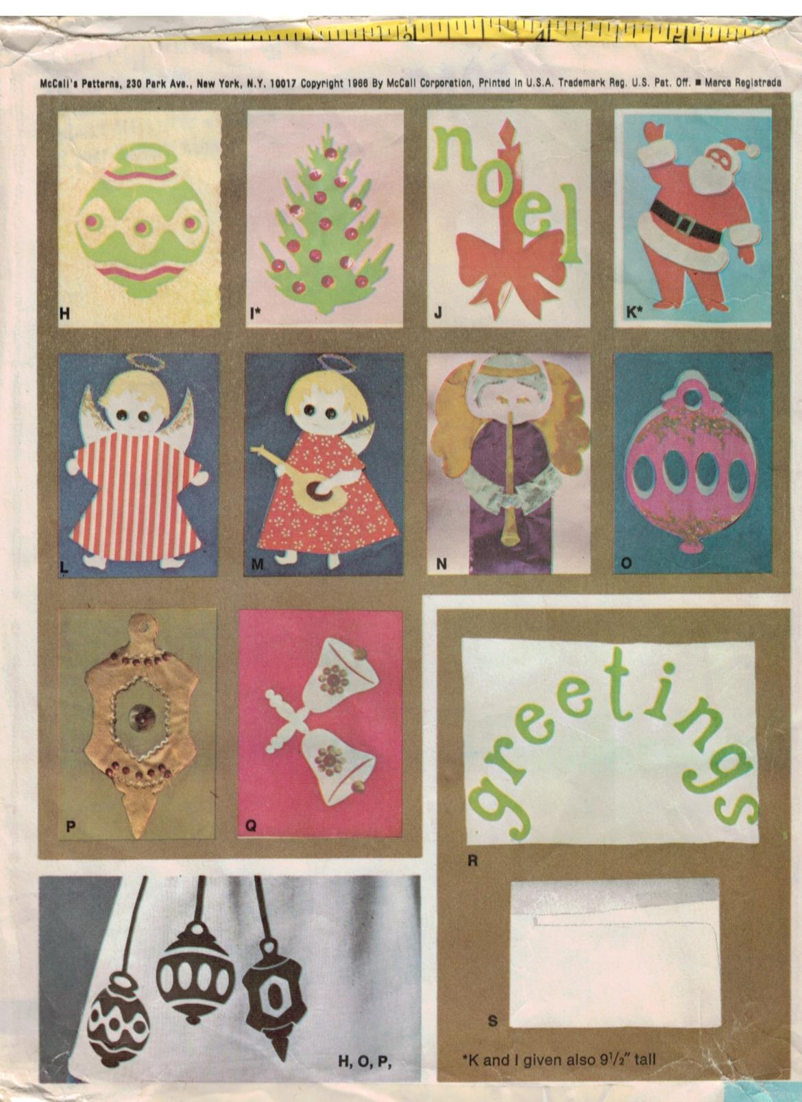 Vintage McCalls #1997 Christmas Applique Motifs circa 1950