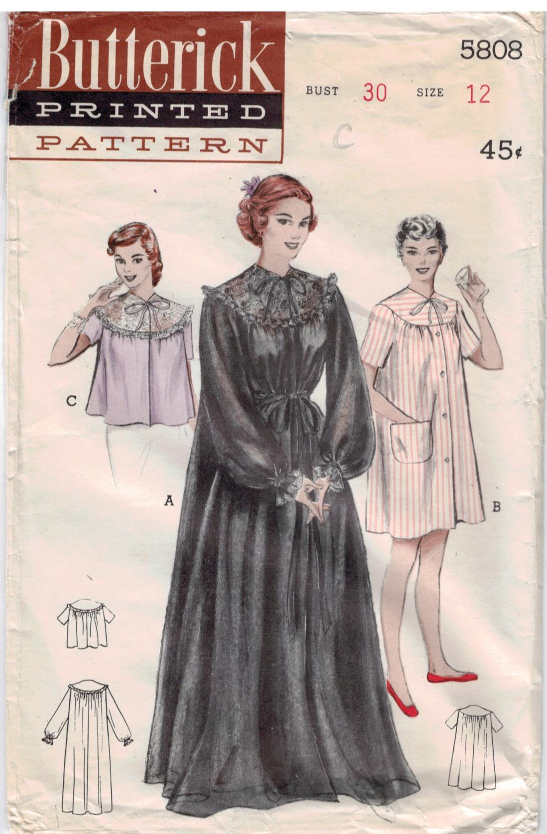 Butterick Pattern 5808 Vintage Peignoir Robe Housecoat And Bed Jacket Size 12 Sewing Pattern Heaven