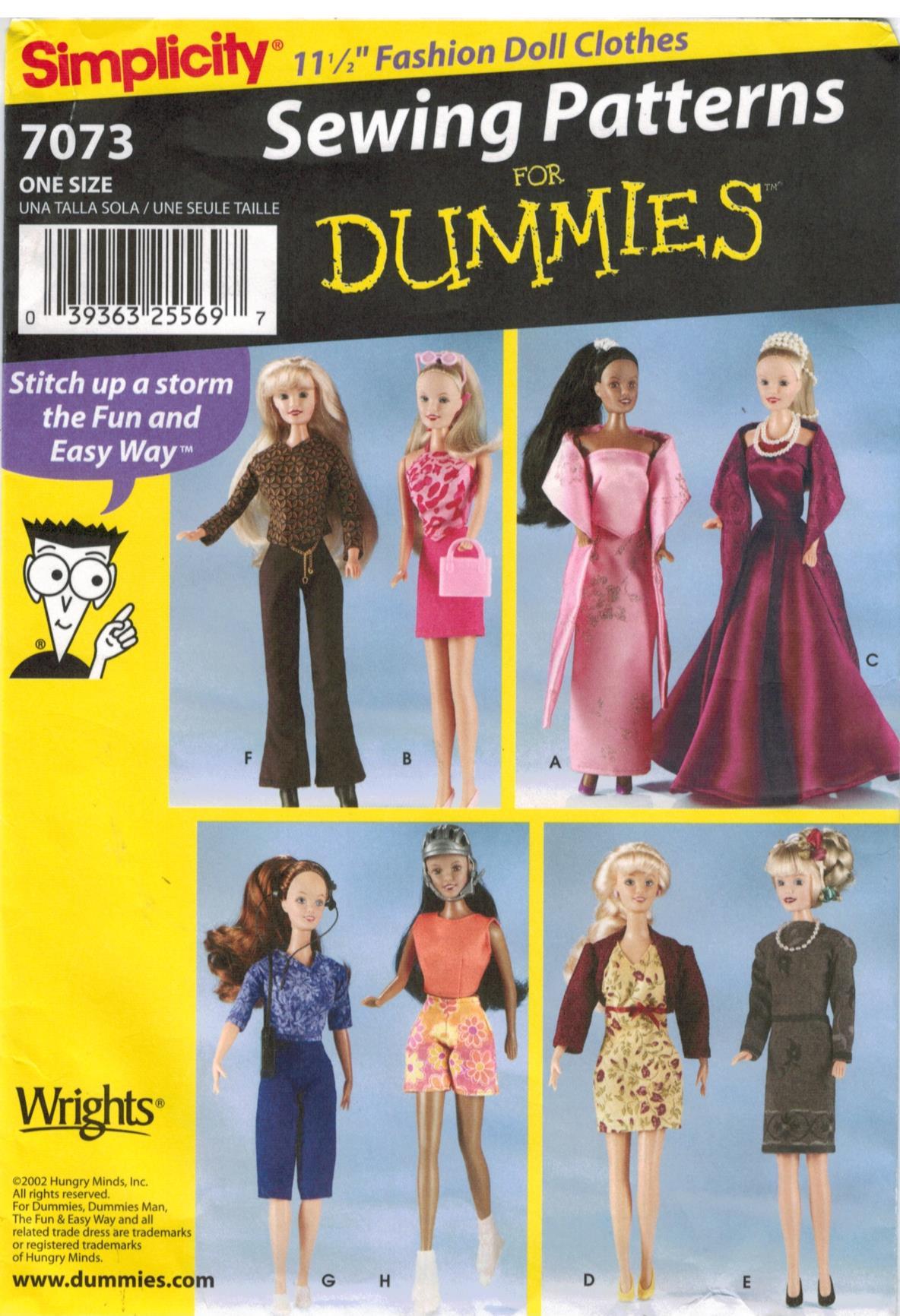 Simplicity Pattern 7073 Fashion Doll Wardrobe for Barbie size dolls