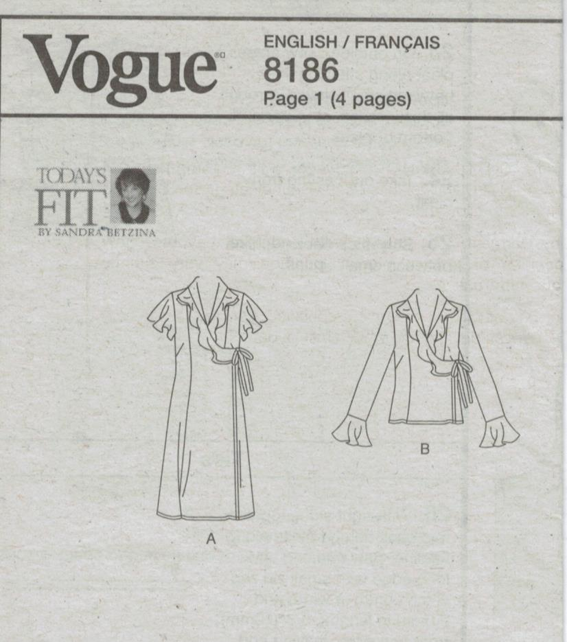 Vogue Pattern 60 Today's Fit By Sandra Betzina Wrap Around Dress Unique Pattern Def