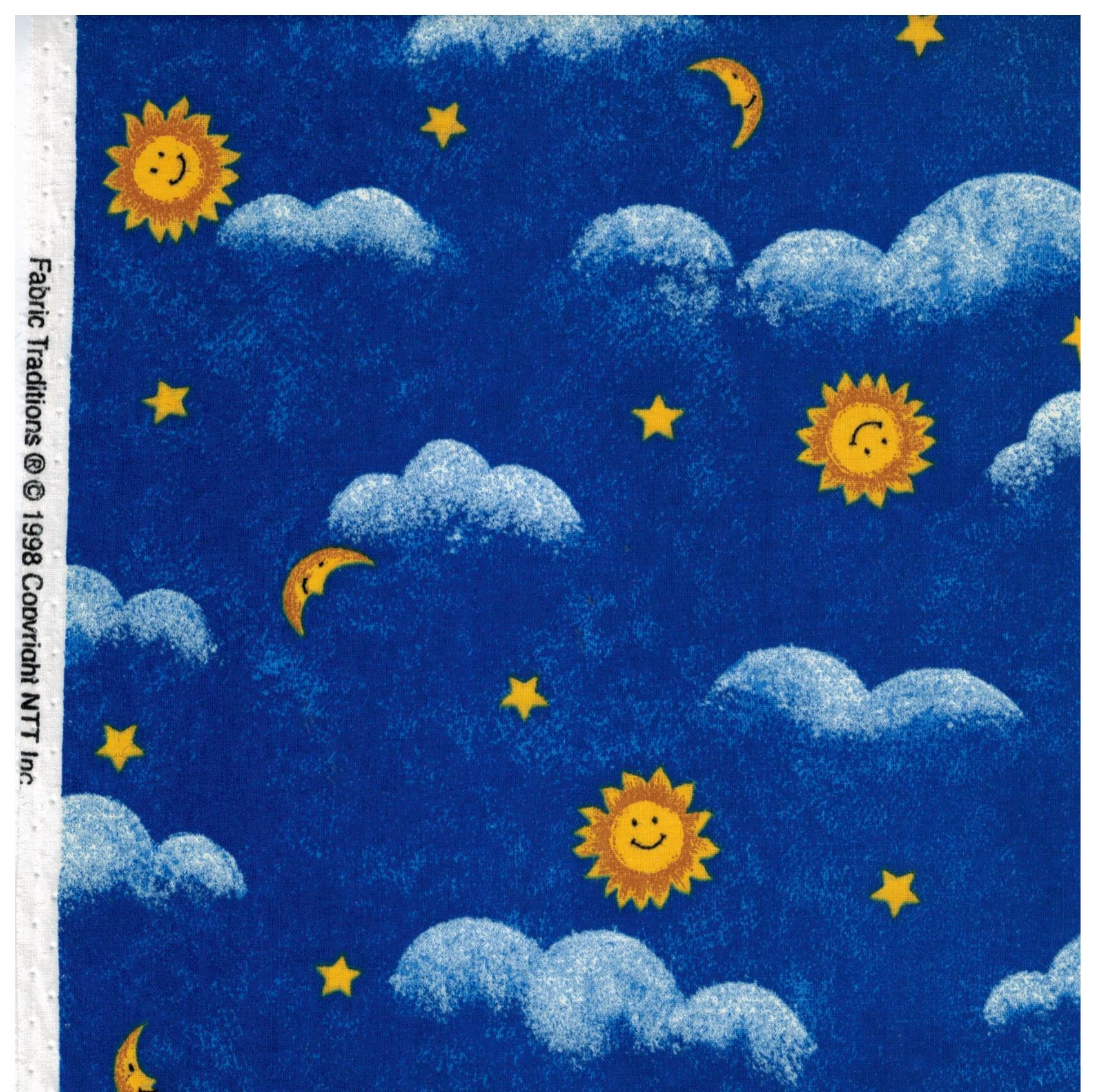 Fabric traditions fabric sun moon clouds and stars for Moon and stars fabric