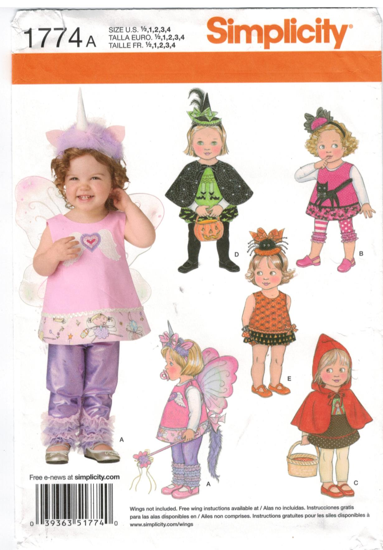 Simplicity Pattern 1774 Toddler Costumes Riding Hood,m Butterfly, Witch and  more Sizes 1/2 - 4