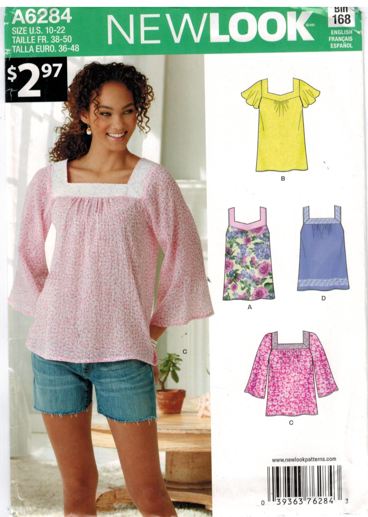 Maternity sewing pattern heaven new look pattern 6284 tunic with sleeve and neckline variations sizes 10 through 22 jeuxipadfo Choice Image